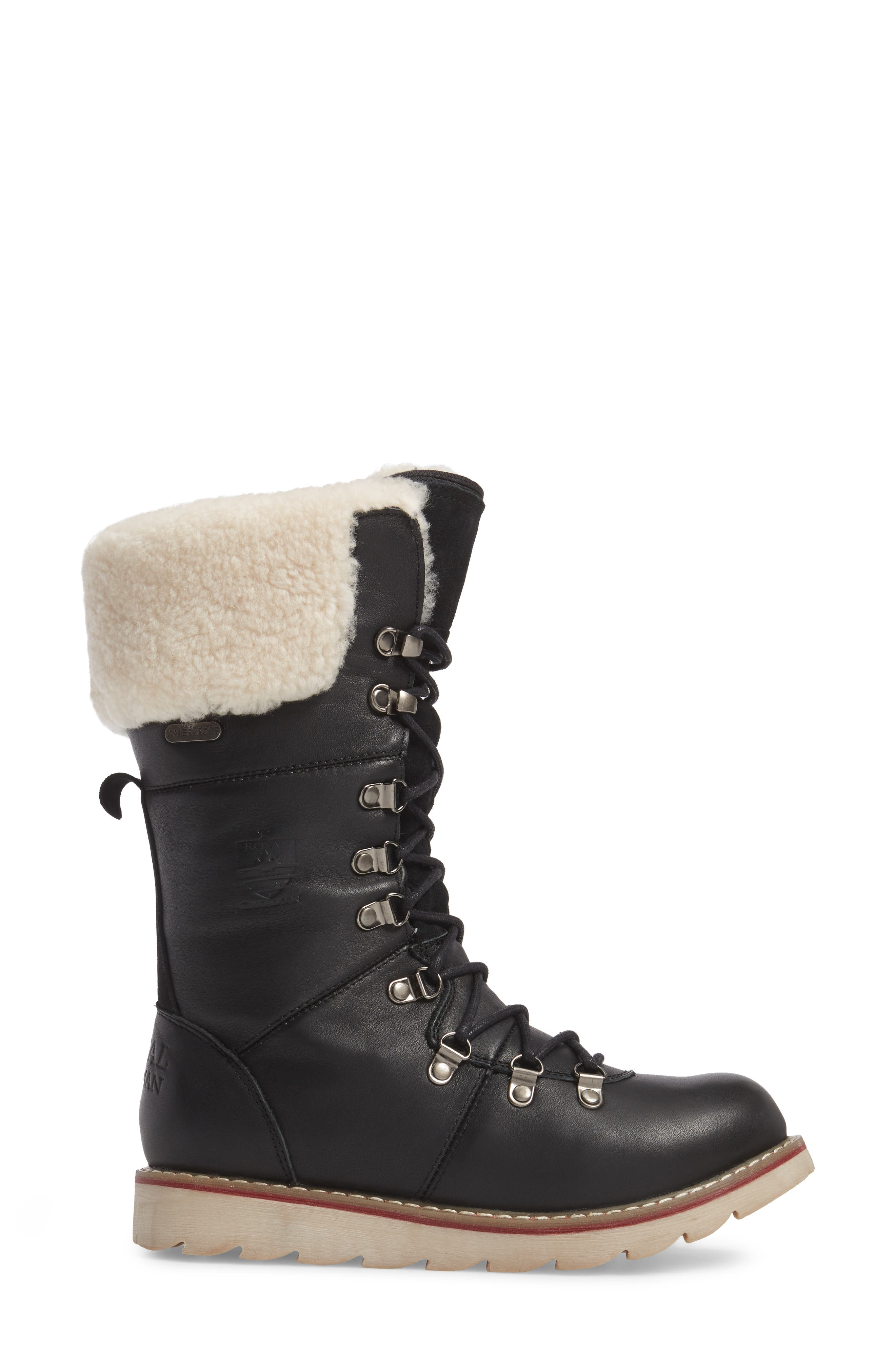 Louise Waterproof Snow Boot with Genuine Shearling Cuff,                             Alternate thumbnail 3, color,                             Black Leather