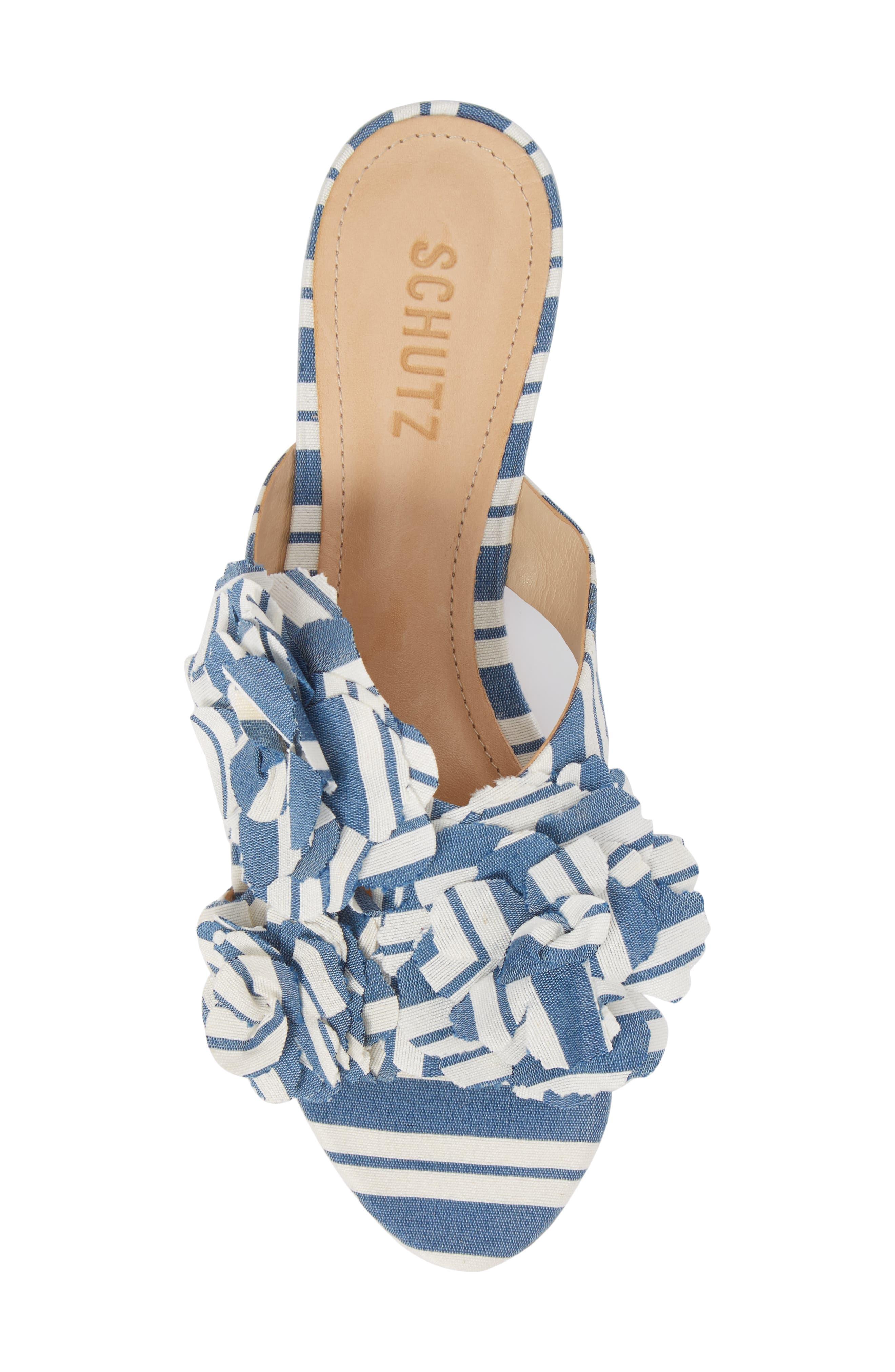 Ilaria Flower Sandal,                             Alternate thumbnail 5, color,                             Dress Blue