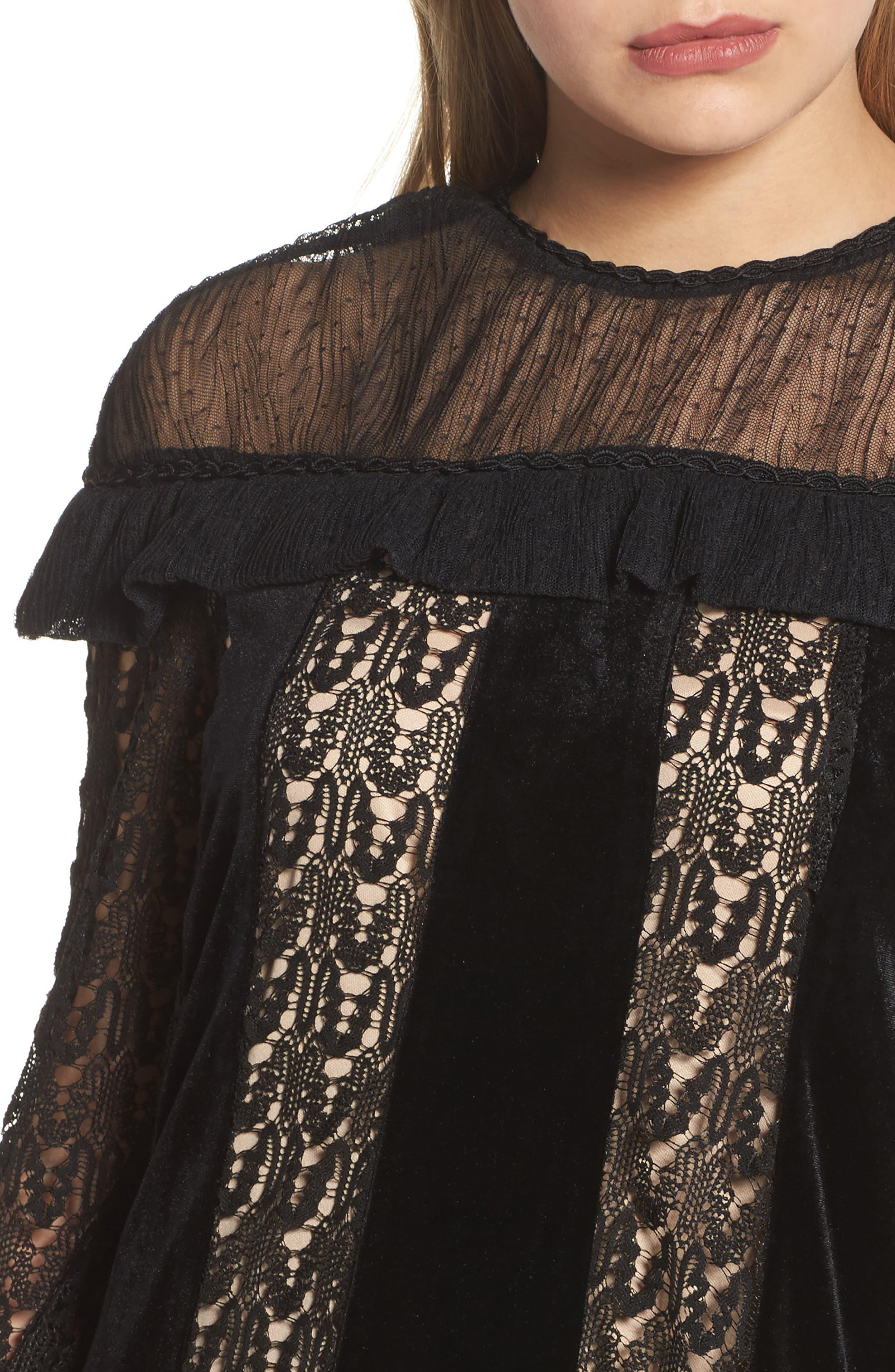 Charli Lace & Velvet Shift Dress,                             Alternate thumbnail 4, color,                             Black