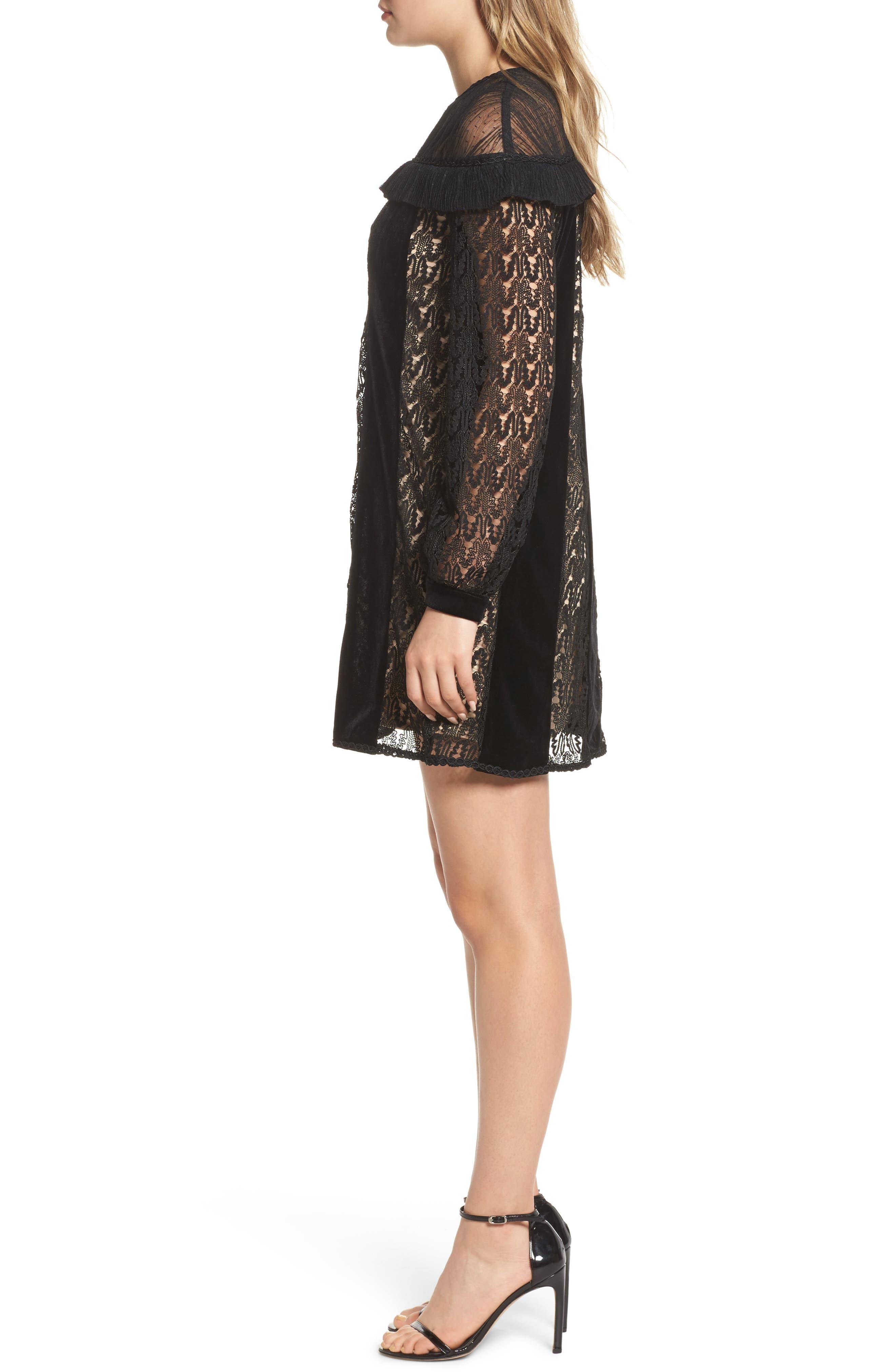 Charli Lace & Velvet Shift Dress,                             Alternate thumbnail 3, color,                             Black