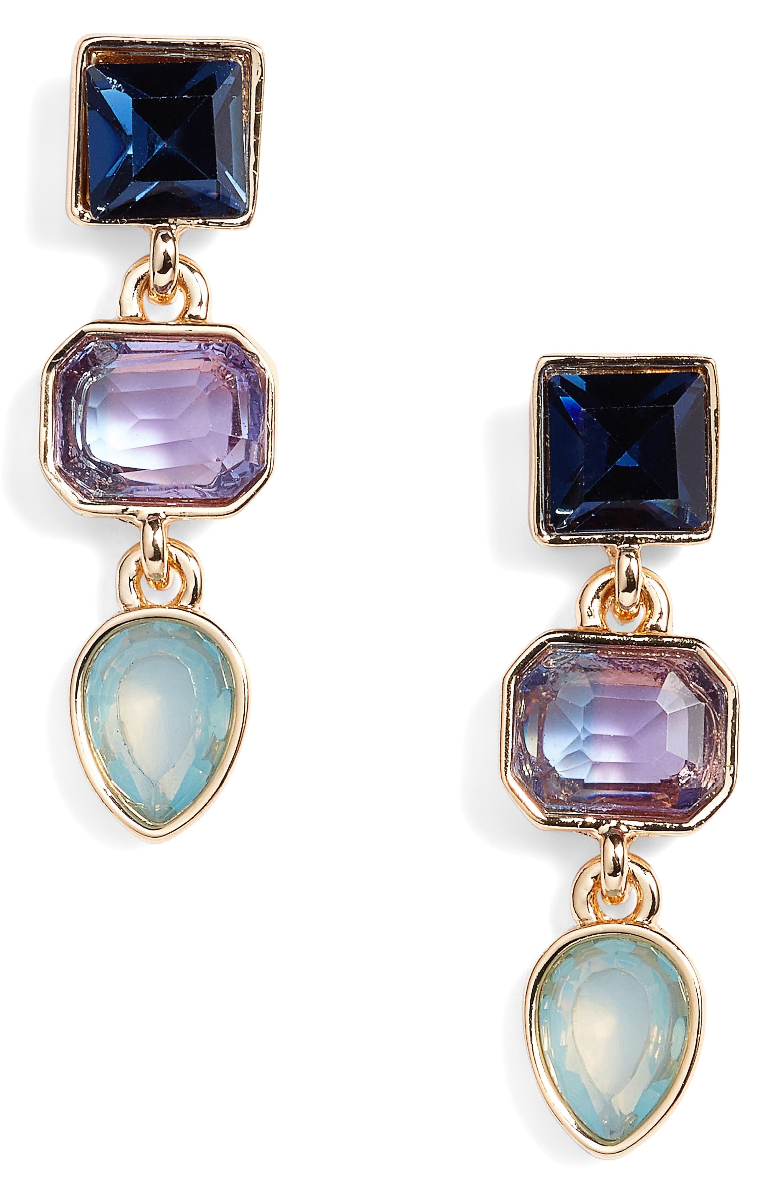 Triple Stone Drop Earrings,                         Main,                         color, Blue Multi- Gold