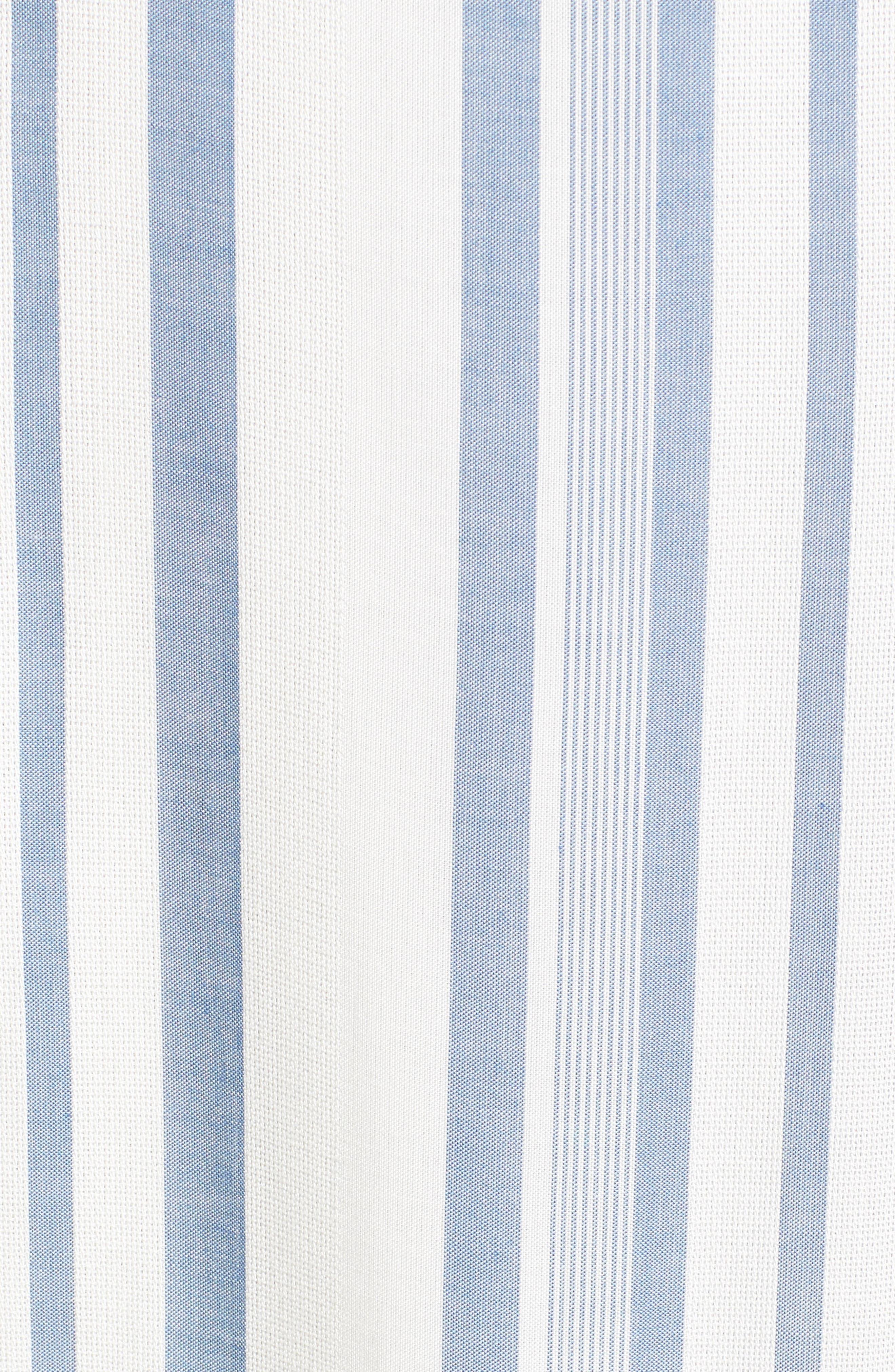 Bow Front Marina Maxi Dress,                             Alternate thumbnail 5, color,                             White/ Blue