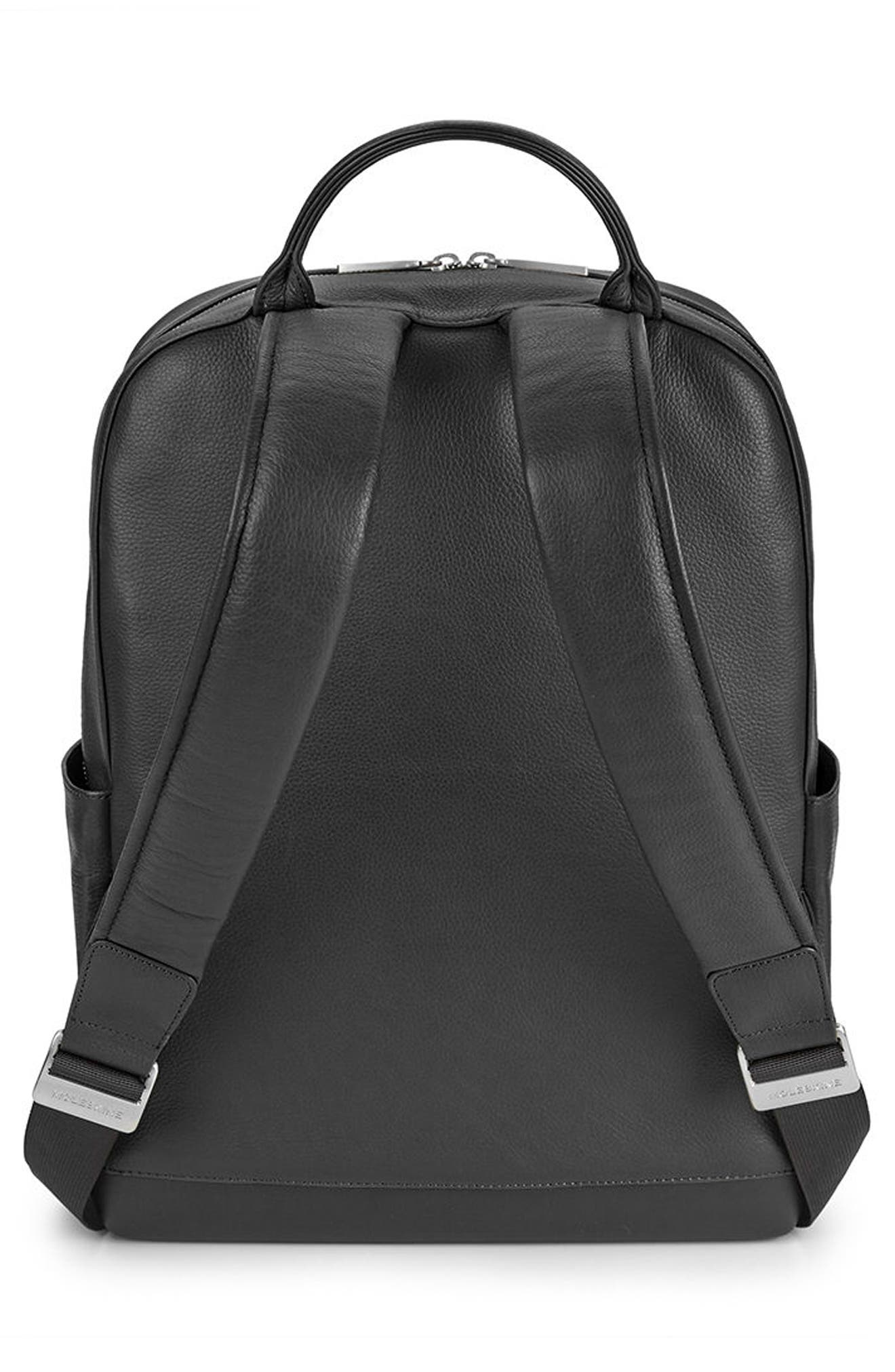 Classic Leather Backpack,                             Alternate thumbnail 2, color,                             Black