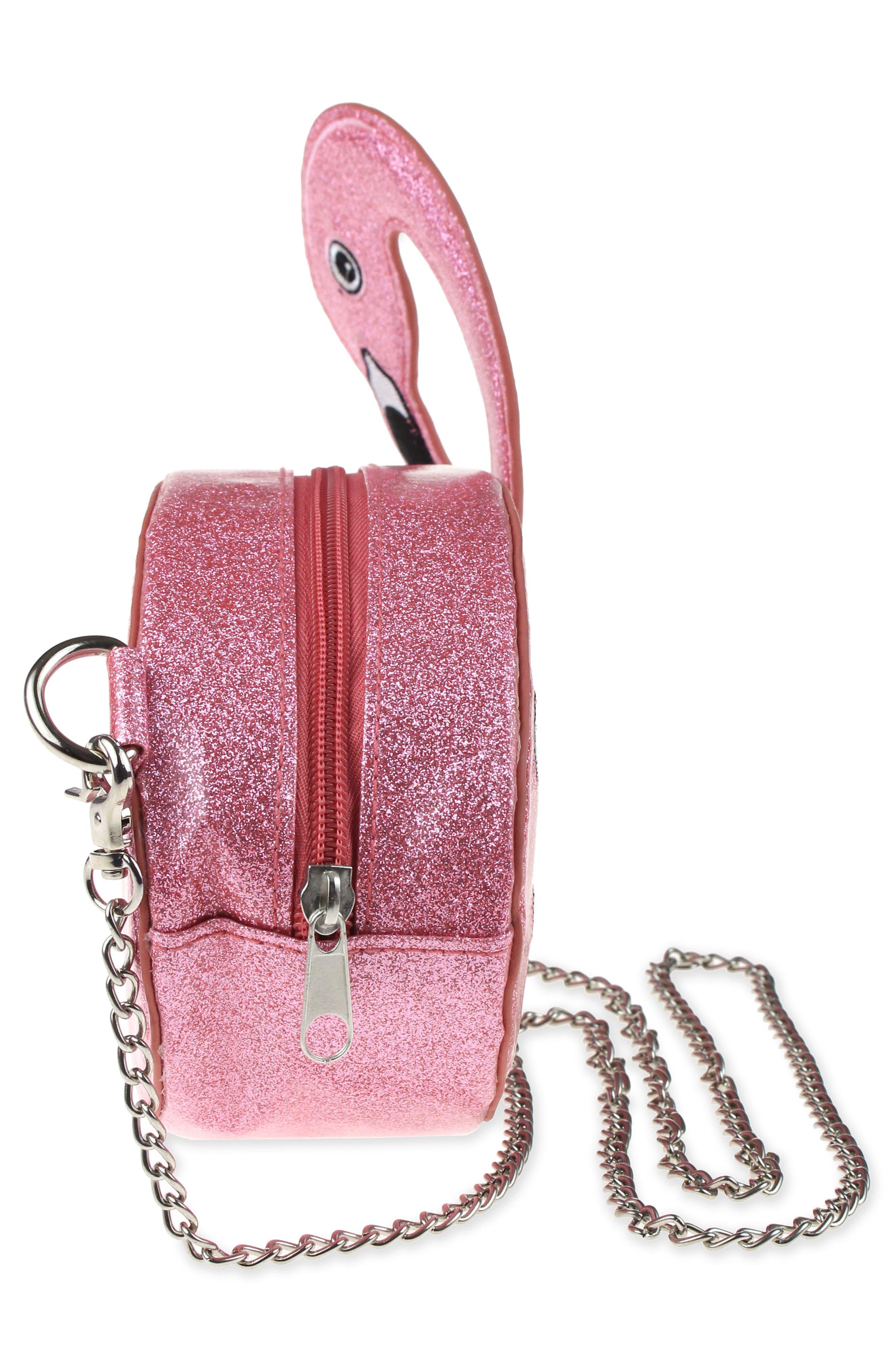 Flamingo Glitter Crossbody Bag,                             Alternate thumbnail 4, color,                             Hot Pink