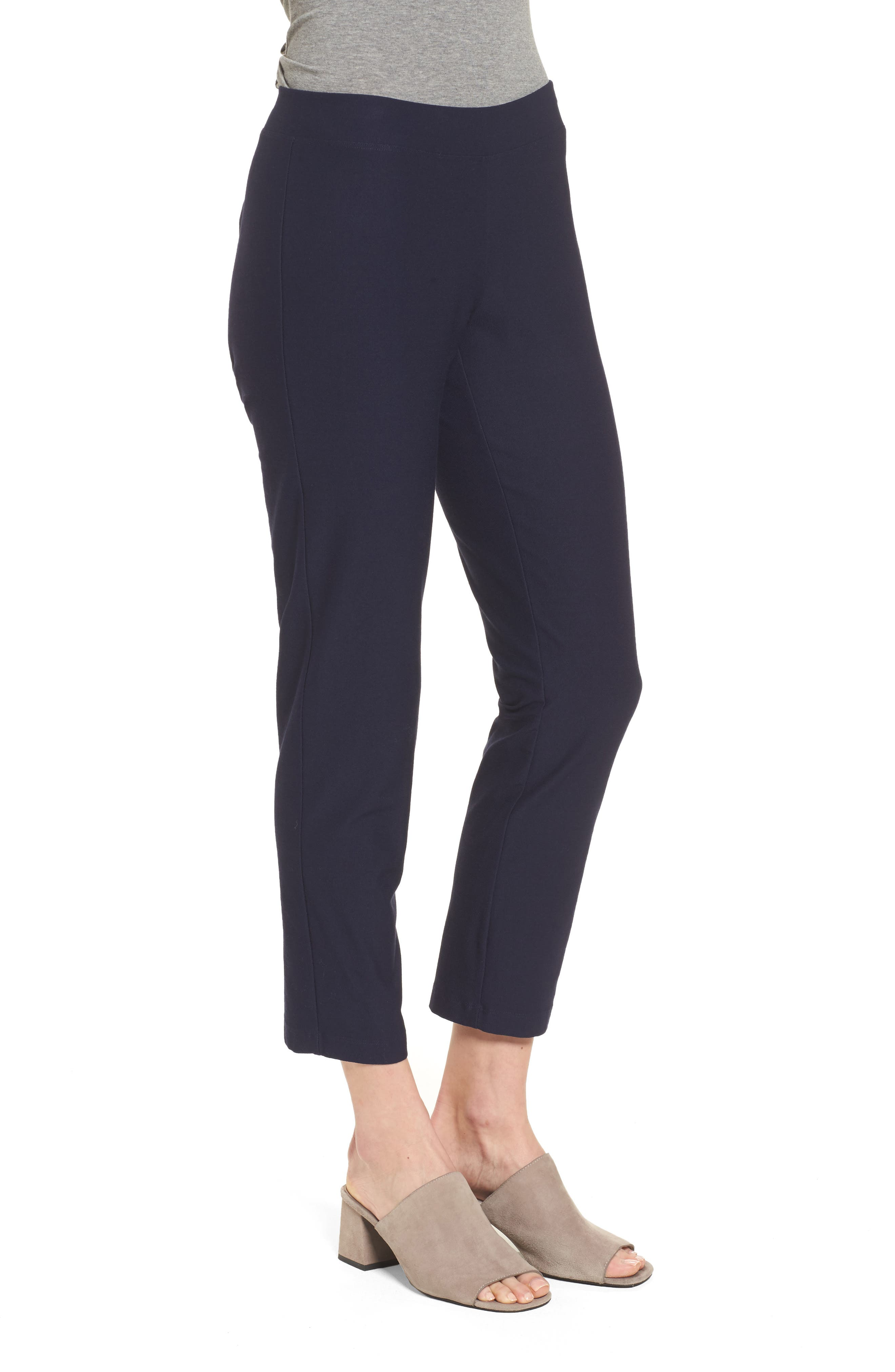 Stretch Crepe Slim Ankle Pants,                             Alternate thumbnail 3, color,                             Midnight