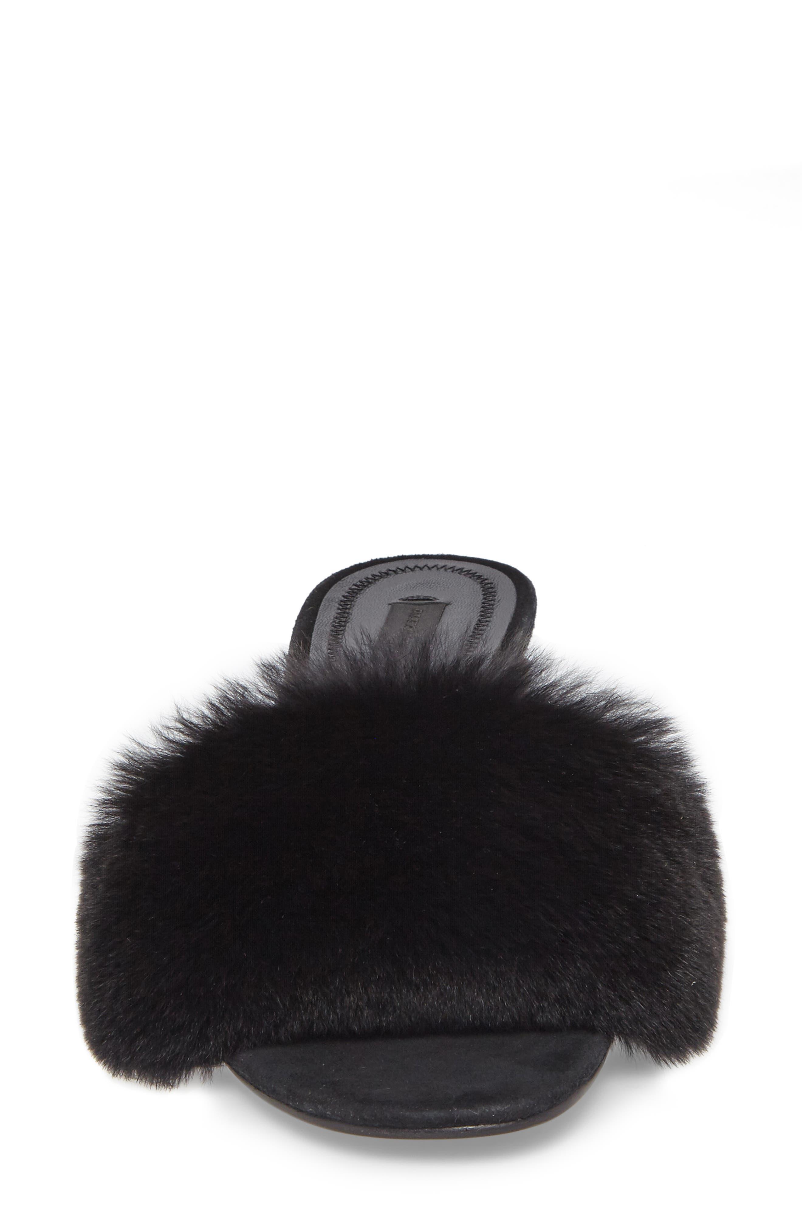 Lou Genuine Rabbit Fur Slide,                             Alternate thumbnail 4, color,                             Black