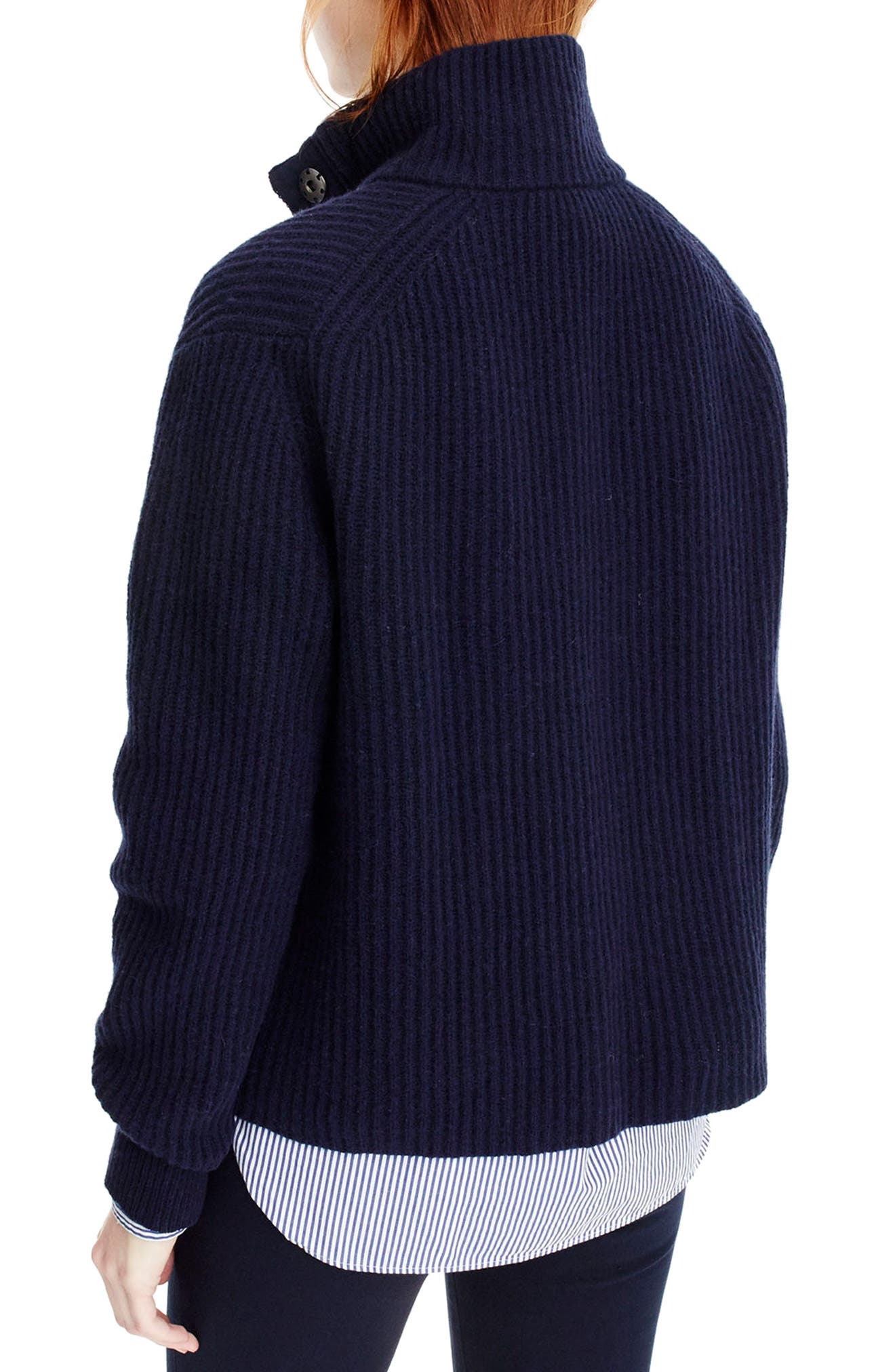 J.Crew Kay Lambswool Pullover Sweater,                             Alternate thumbnail 2, color,                             Navy