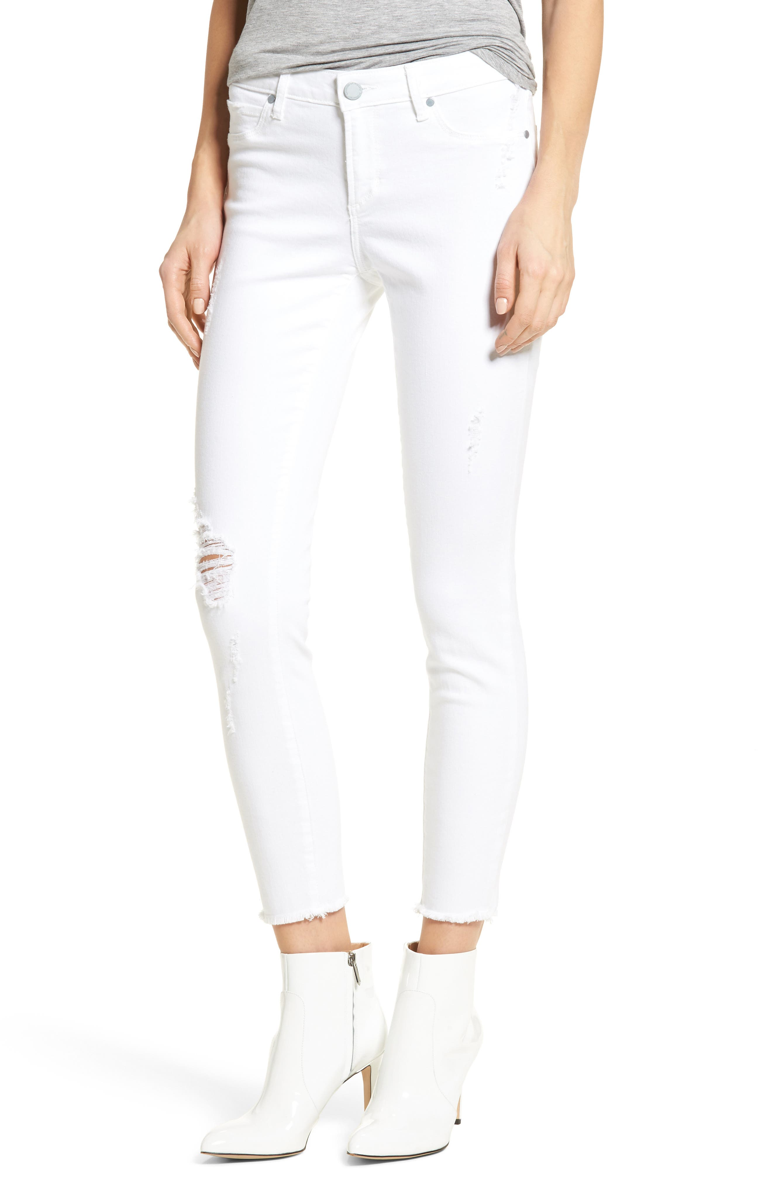 Carly Distressed Ankle Skinny Jeans,                             Main thumbnail 1, color,                             Cannes