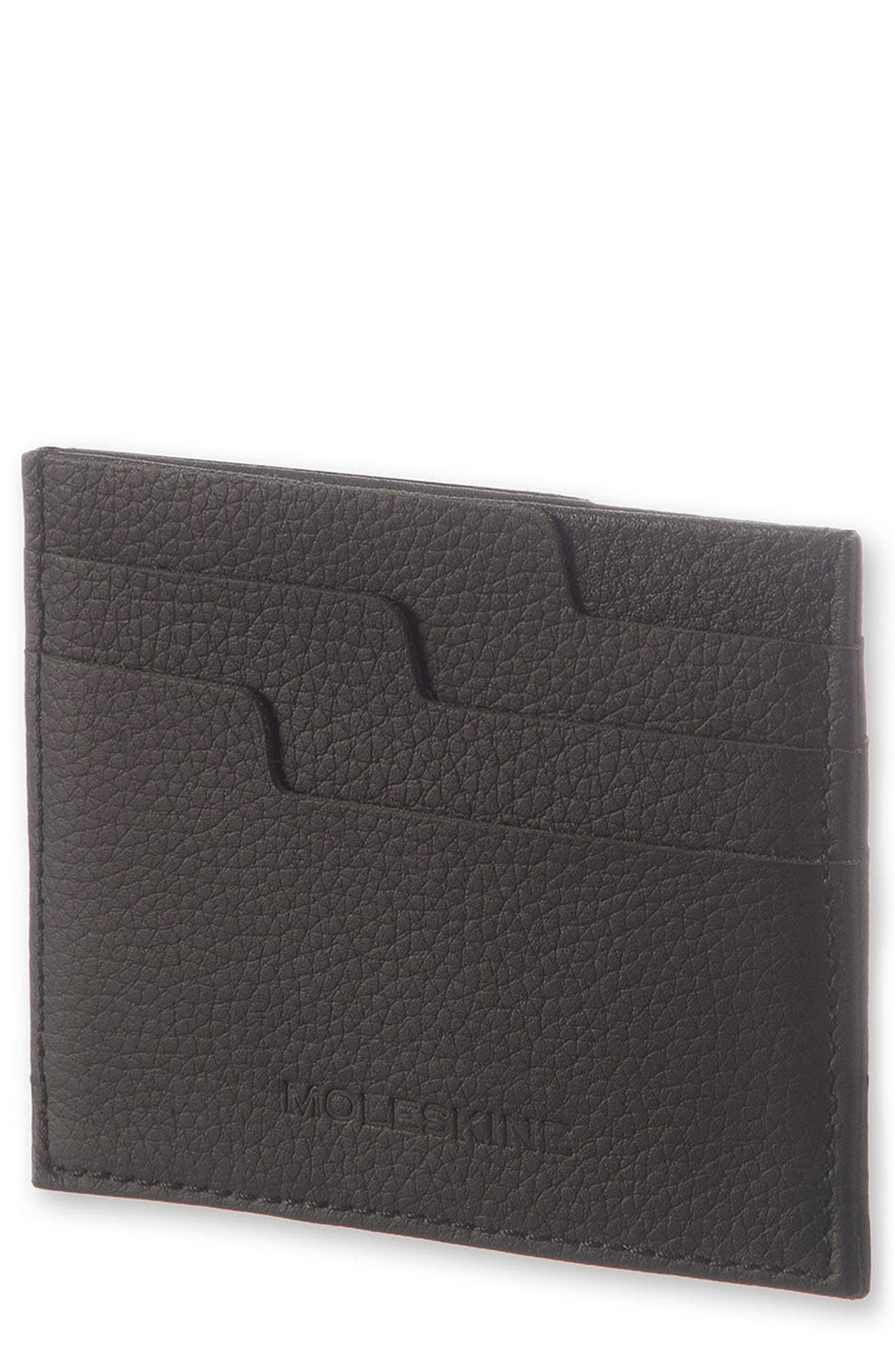 Moleskin Lineage Leather Card Case,                             Main thumbnail 1, color,                             Black