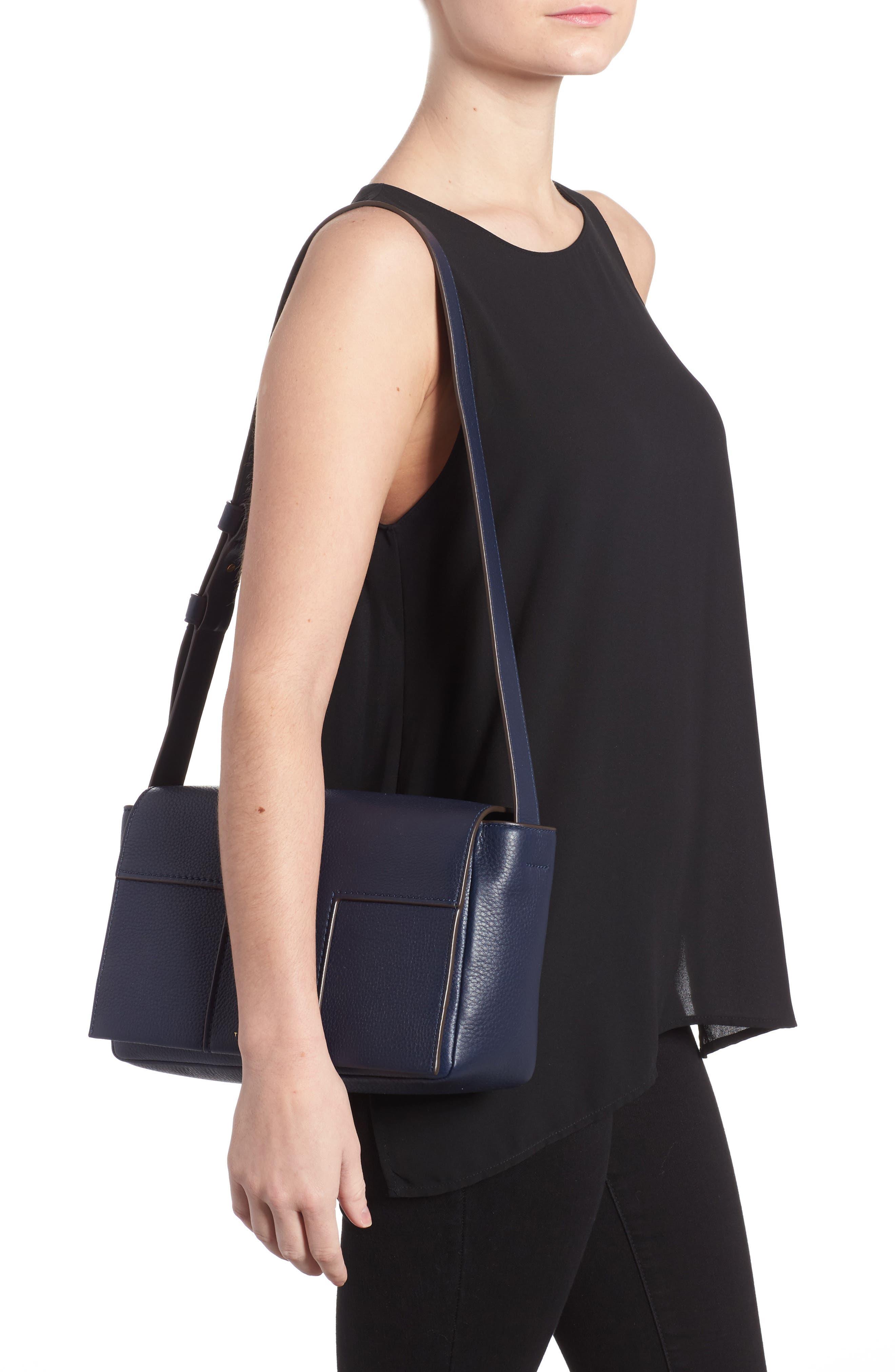 Alternate Image 2  - Tory Burch Block-T Pebbled Leather Shoulder Bag