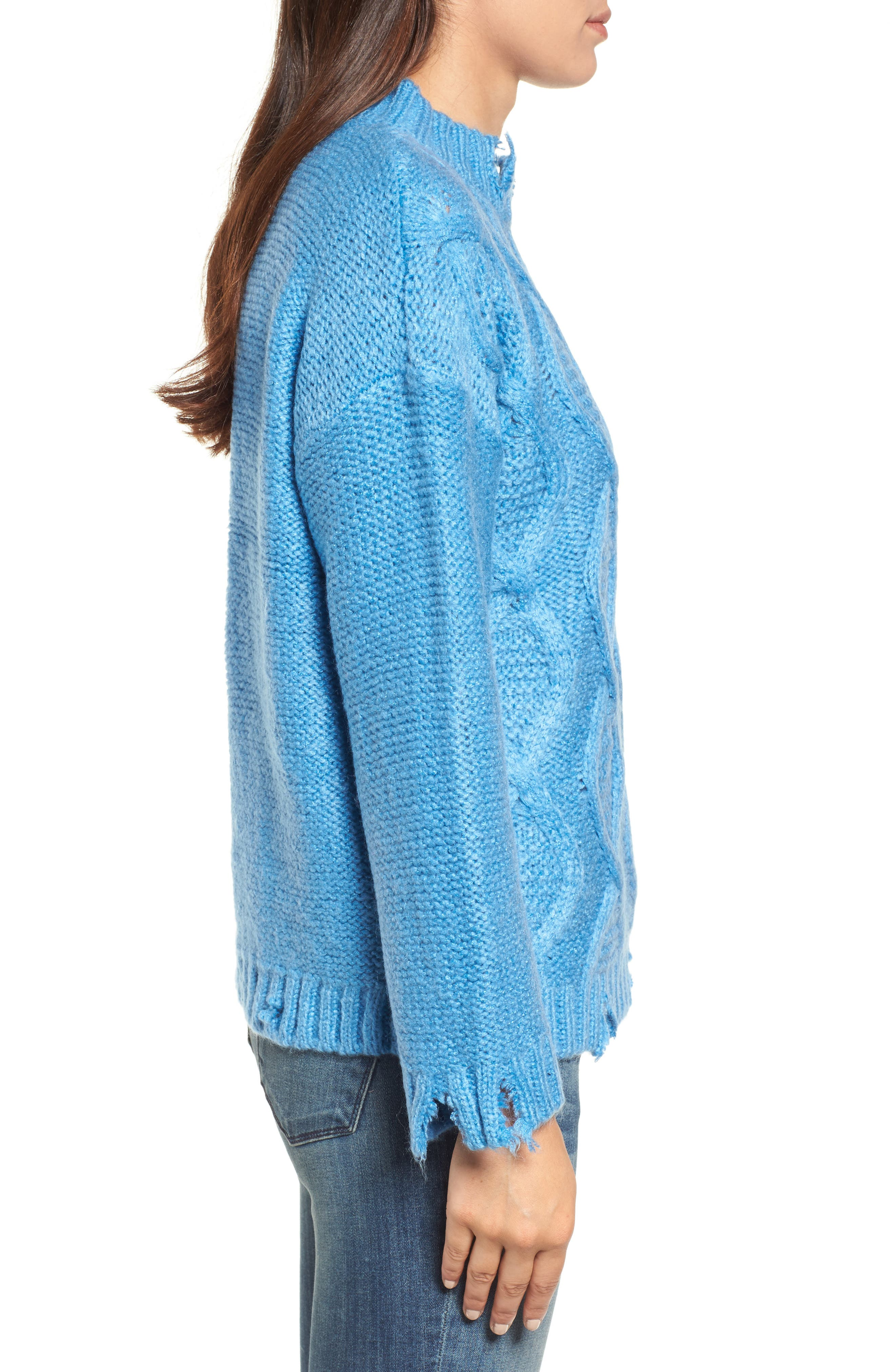 Destroyed Cable Knit Sweater,                             Alternate thumbnail 3, color,                             Turquoise