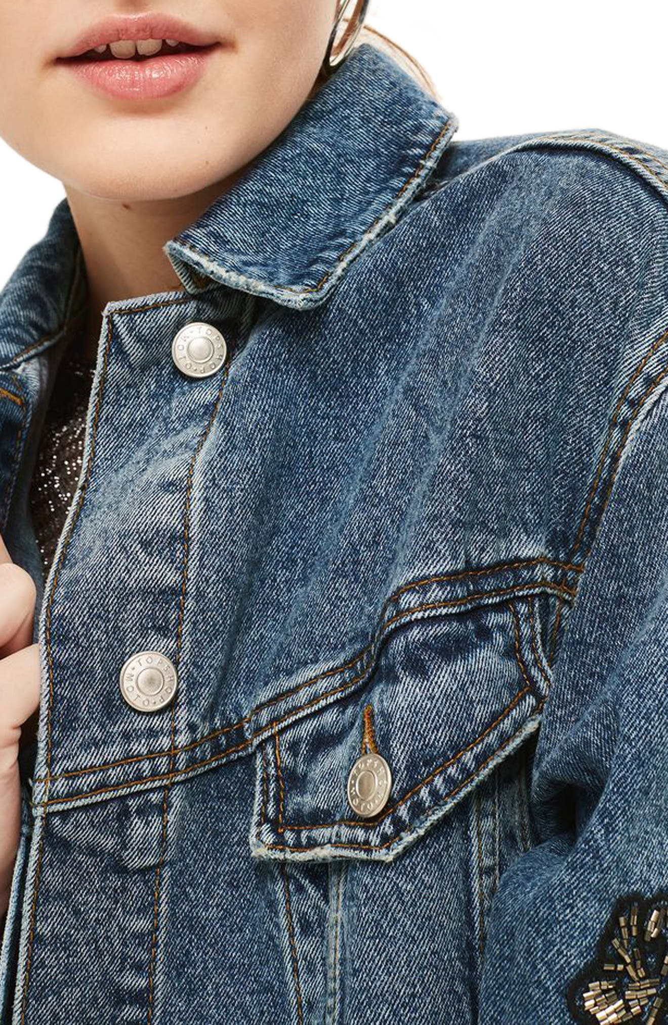 Embellished Denim Jacket,                             Alternate thumbnail 4, color,                             Mid Denim