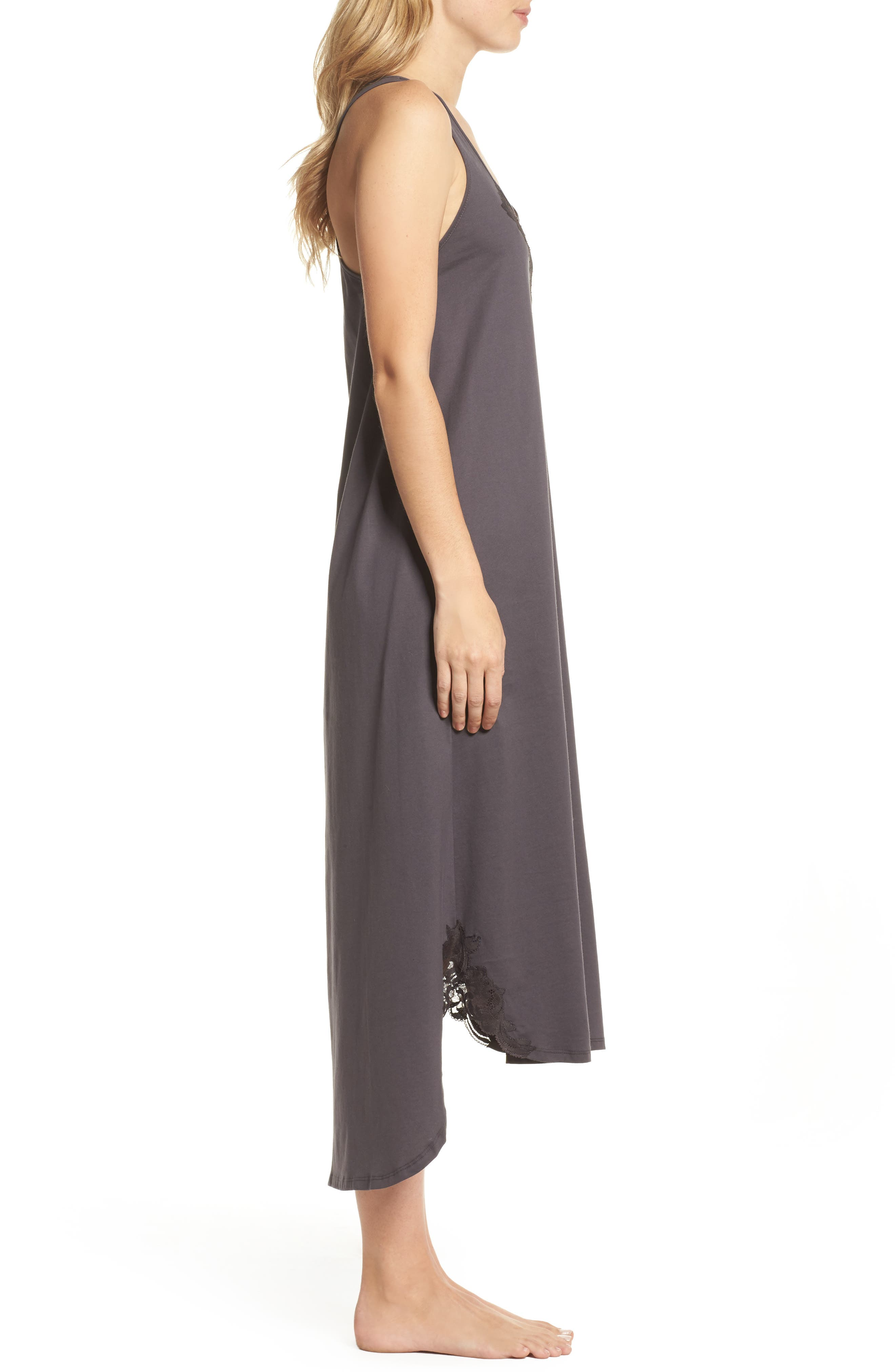 Bliss Supima<sup>®</sup> Cotton Nightgown,                             Alternate thumbnail 3, color,                             Graphite