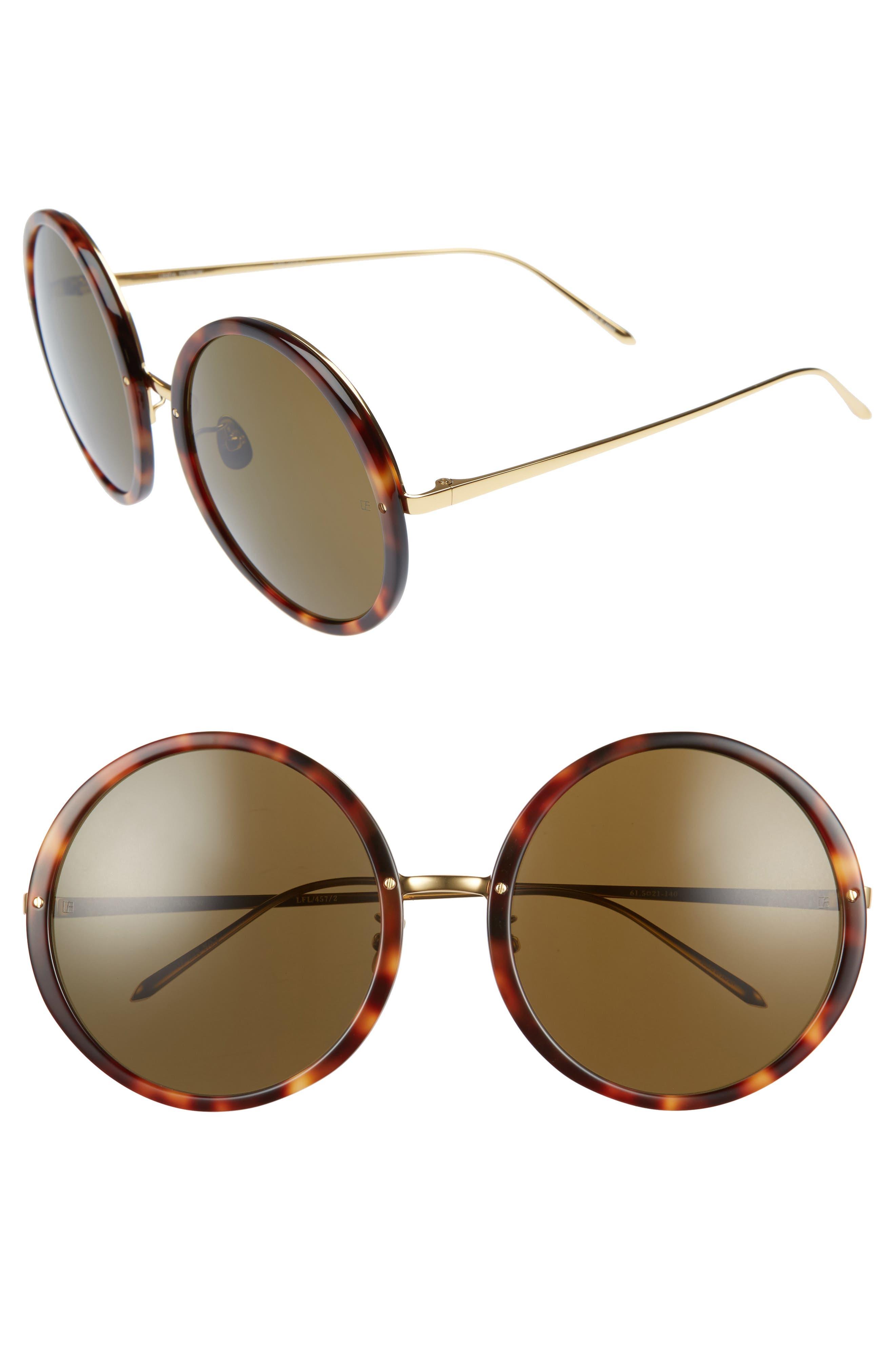 61mm Round 18 Karat Gold Trim Sunglasses,                         Main,                         color, Tortoise/ Yellow Gold/ Brown