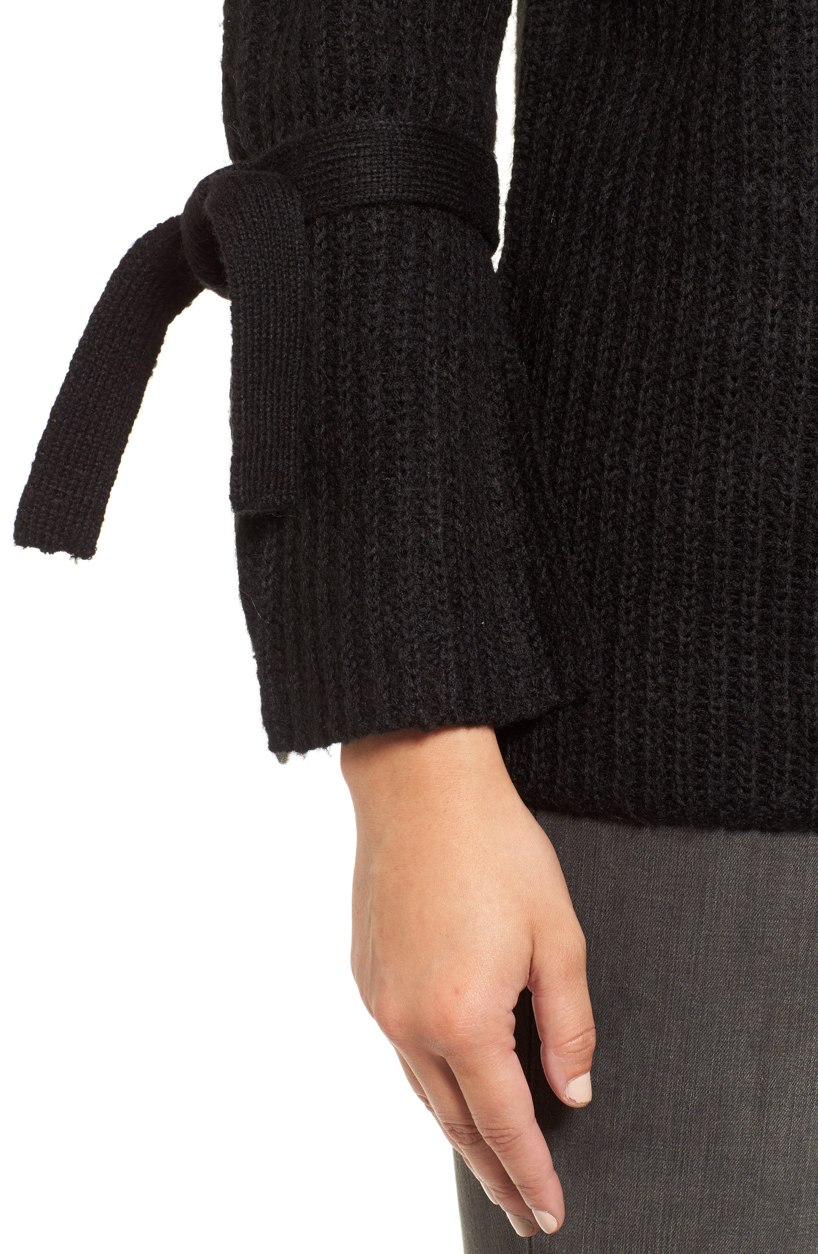 Tie Sleeve Sweater,                             Alternate thumbnail 4, color,                             Black