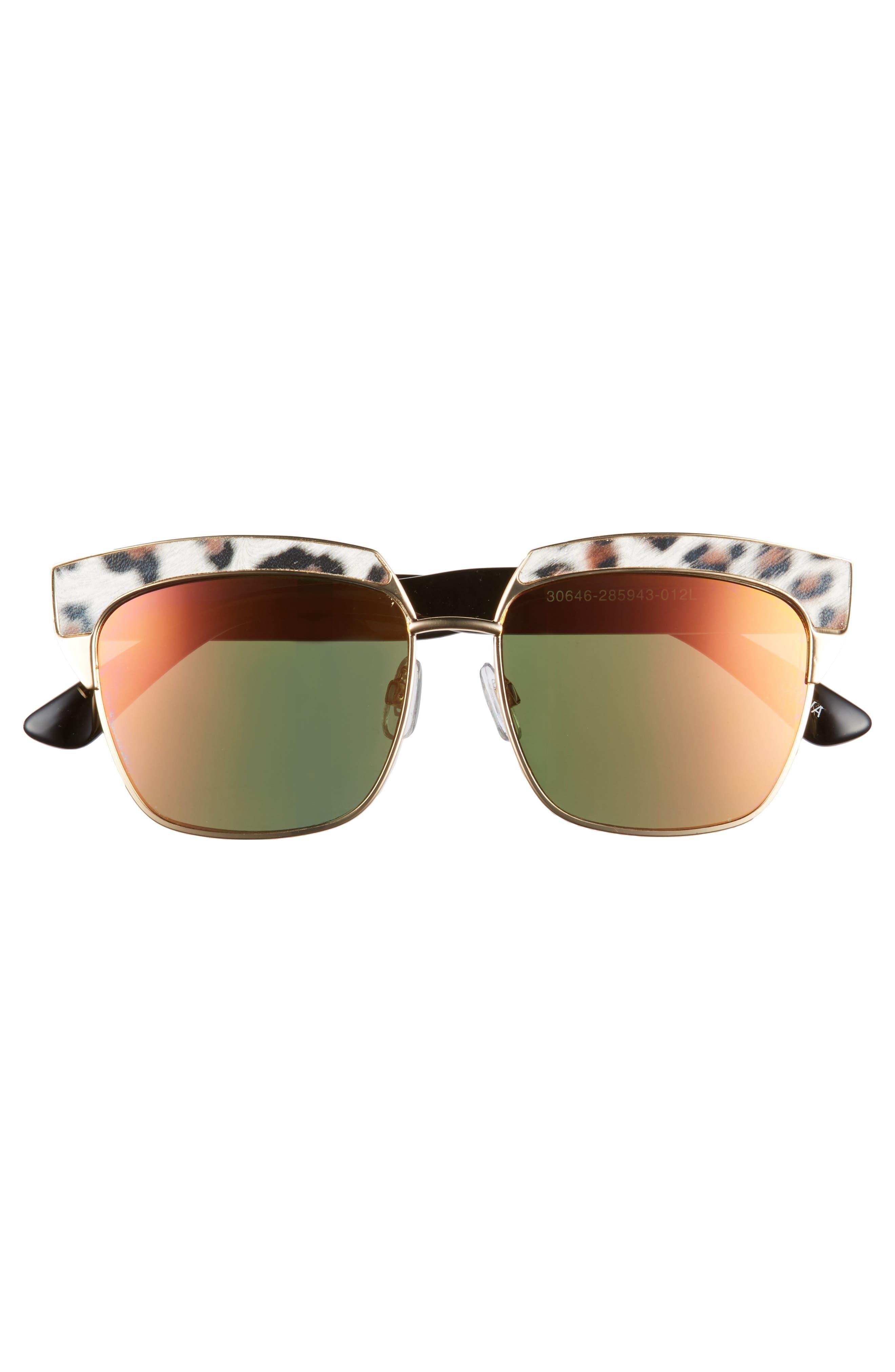 Leopard Print Top Bar Sunglasses,                             Alternate thumbnail 3, color,                             Multi/ Gold