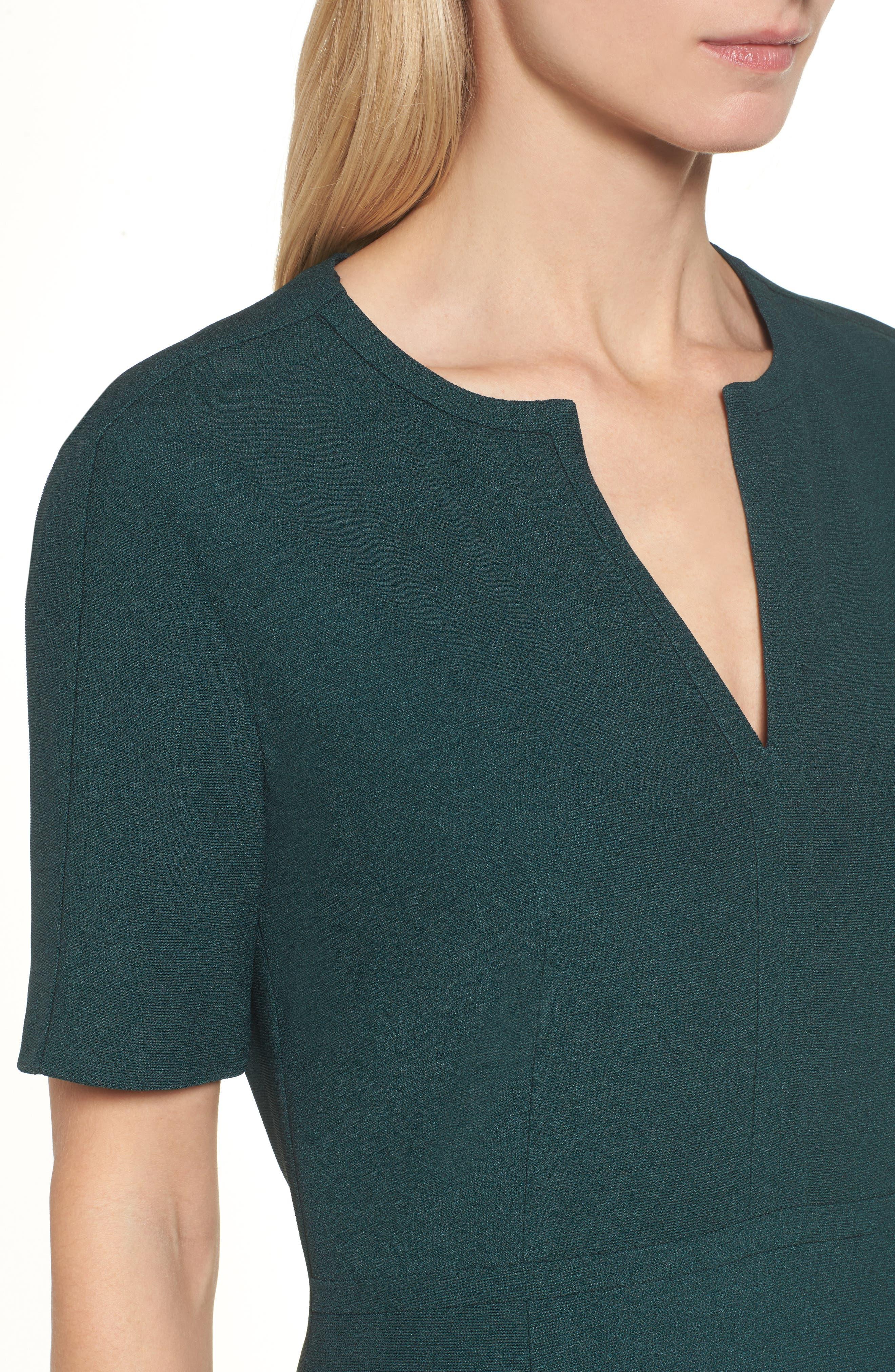 Dalesana Sheath Dress,                             Alternate thumbnail 4, color,                             Peacock Green