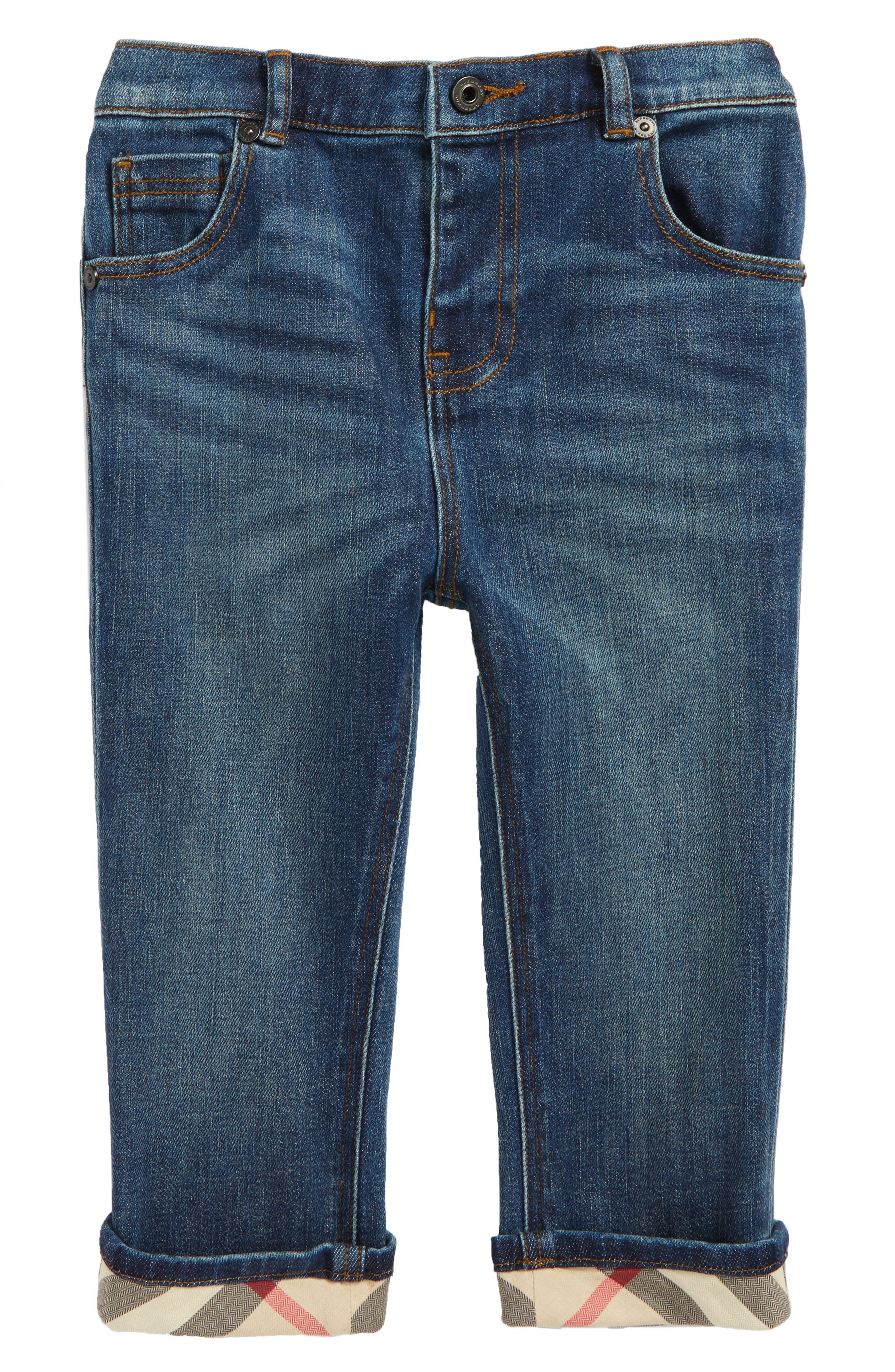 Check Cuff Relaxed Jeans,                             Main thumbnail 1, color,                             Indigo
