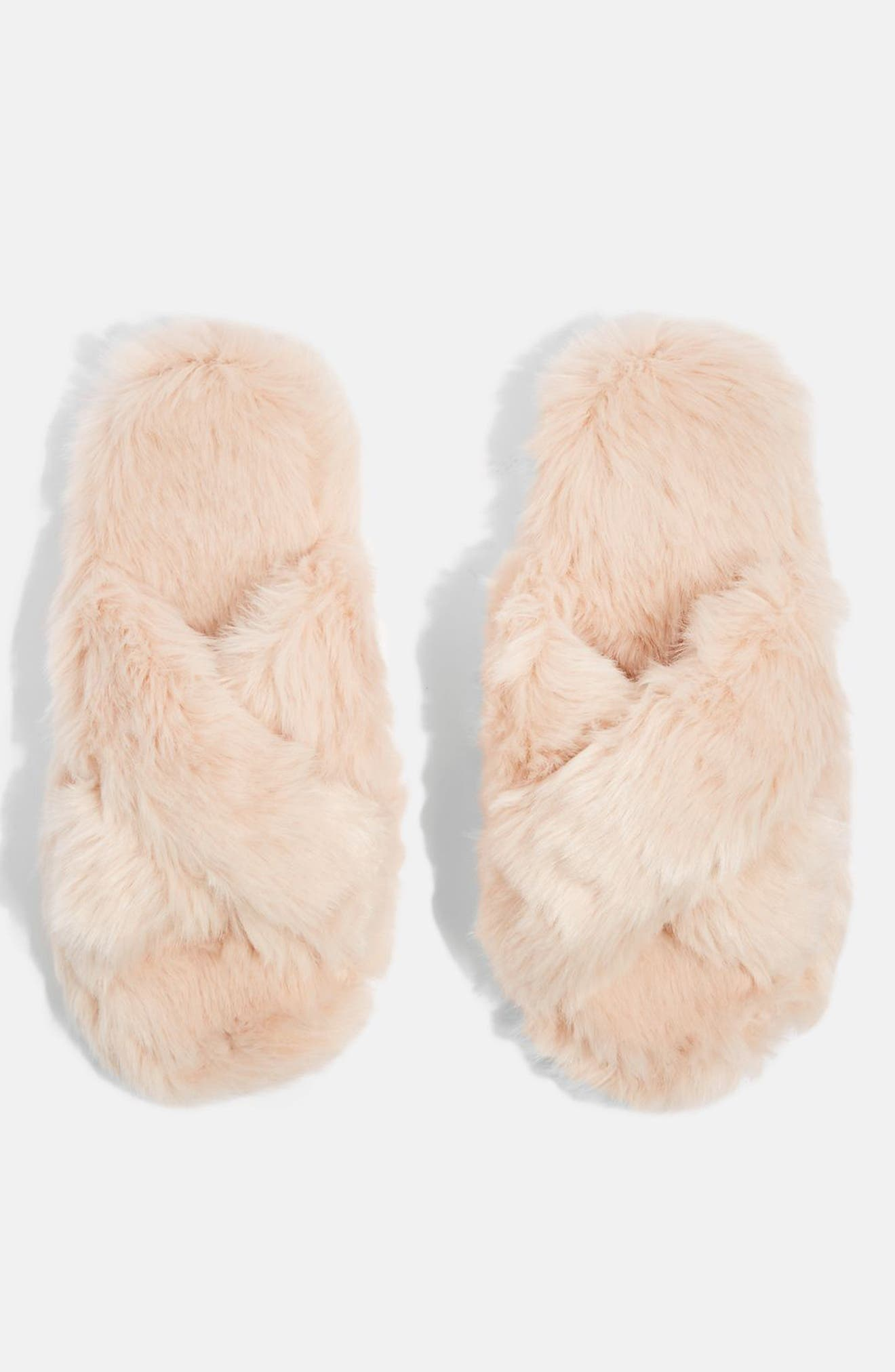 Topshop Dolly Faux Fur Slippers