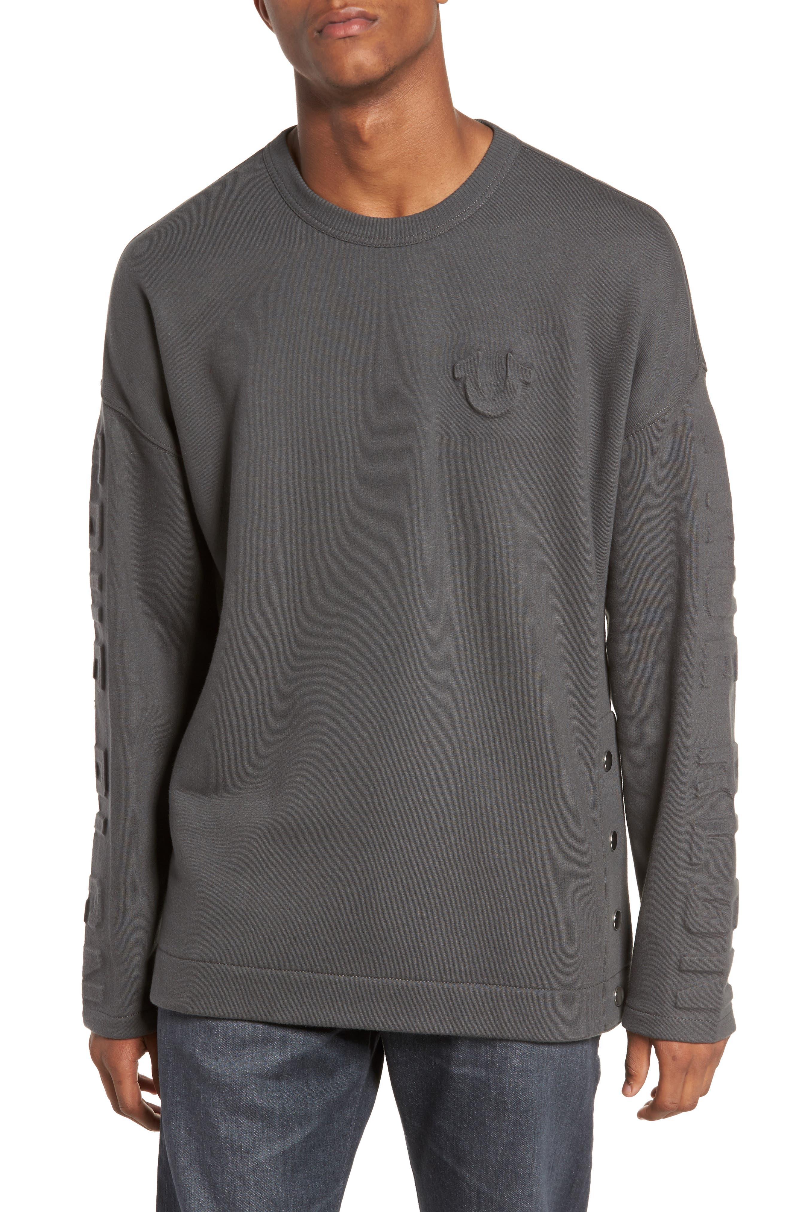 Oversize Fleece Sweatshirt,                         Main,                         color, Charcoal