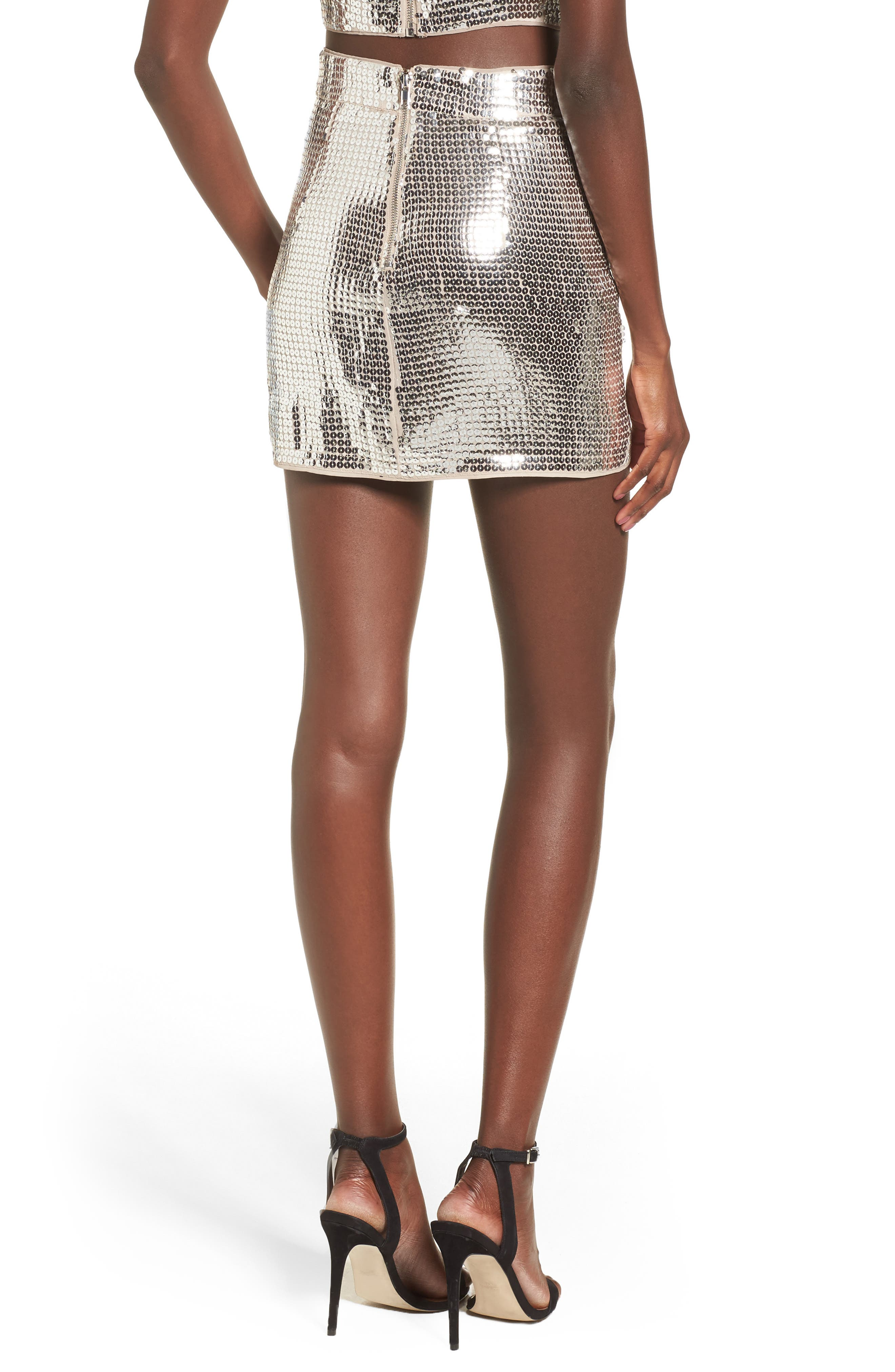 Always This Late Skirt,                             Alternate thumbnail 3, color,                             Silver/ Nude