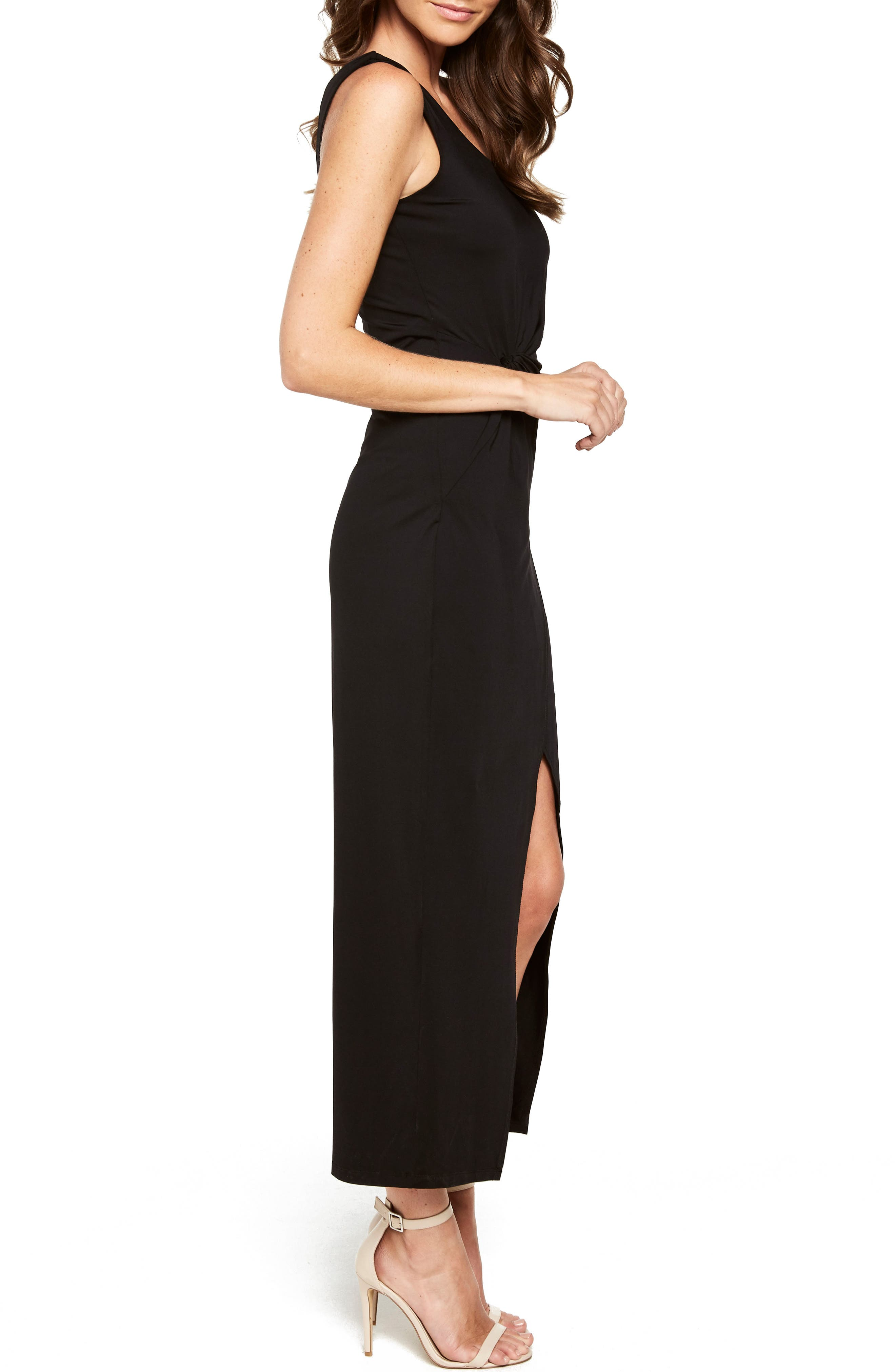 Avril One-Shoulder Maxi Dress,                             Alternate thumbnail 3, color,                             Black