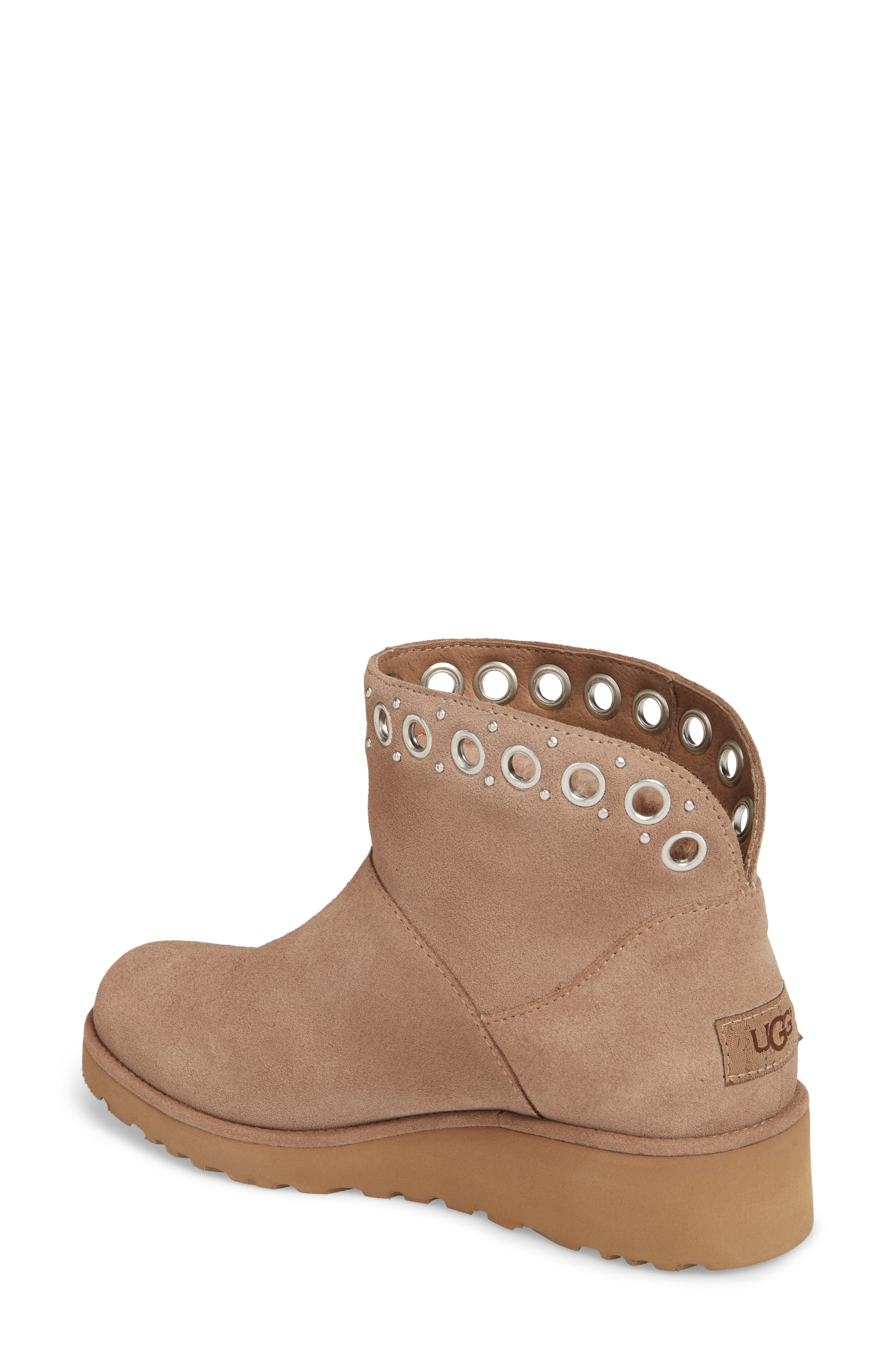 Riley Grommet Wedge Boot,                             Alternate thumbnail 2, color,                             Fawn Suede