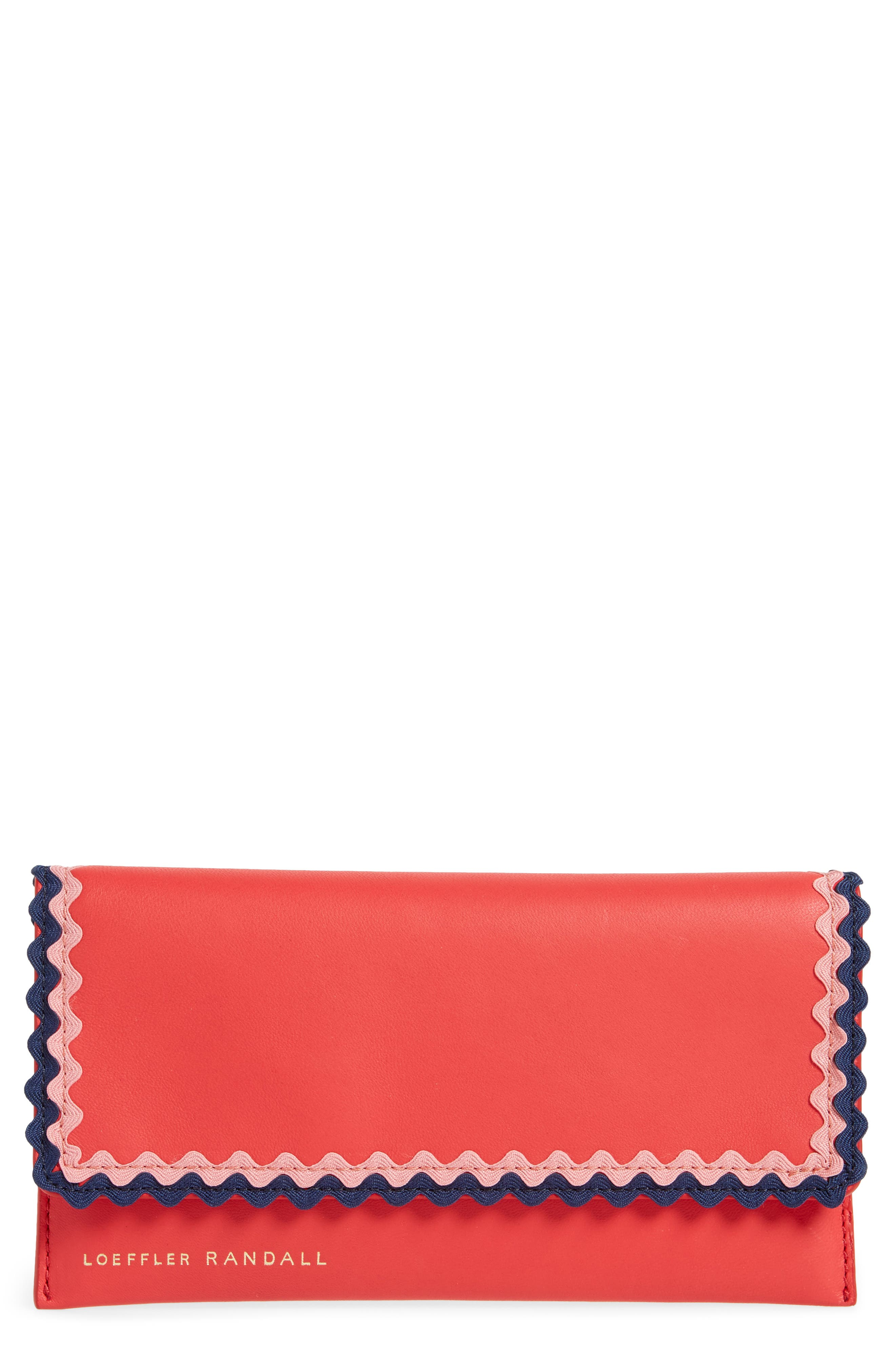 Everything Embellished Leather Wallet,                         Main,                         color, Bright Red/ Multi