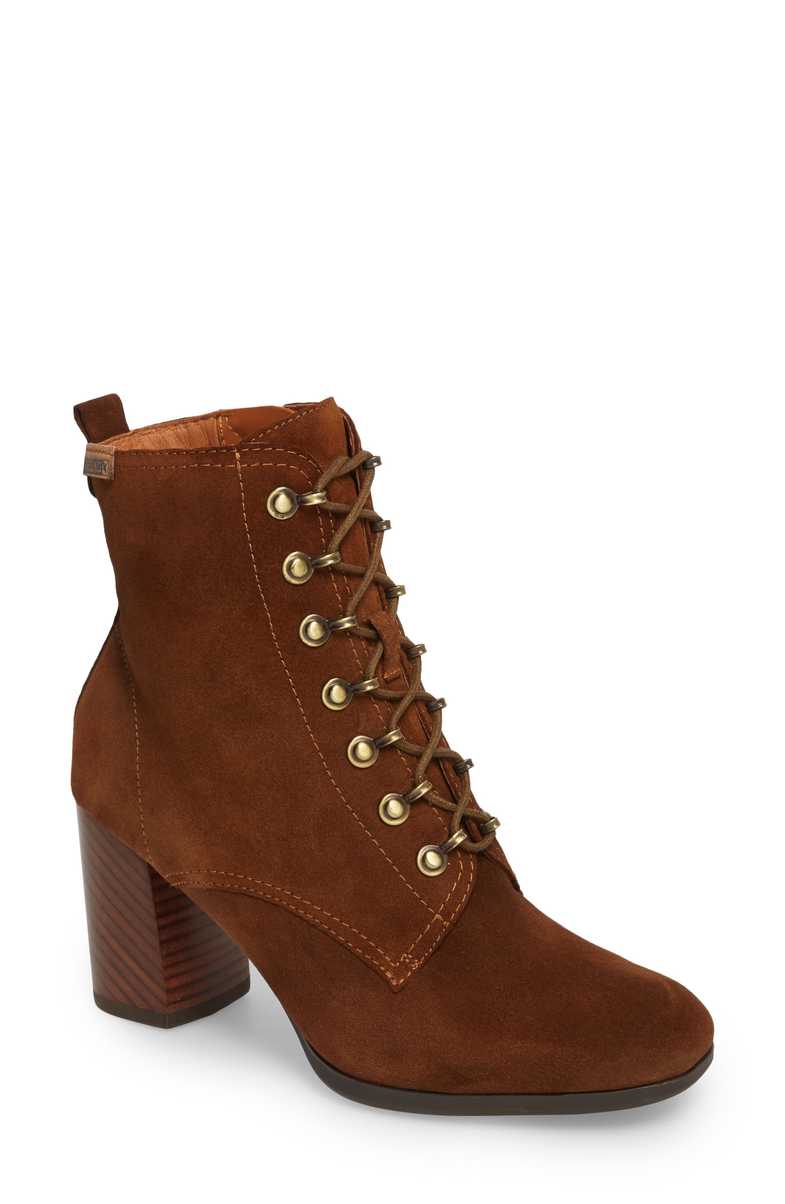Aragon Lace-Up Boot,                             Main thumbnail 1, color,                             Brandy Leather