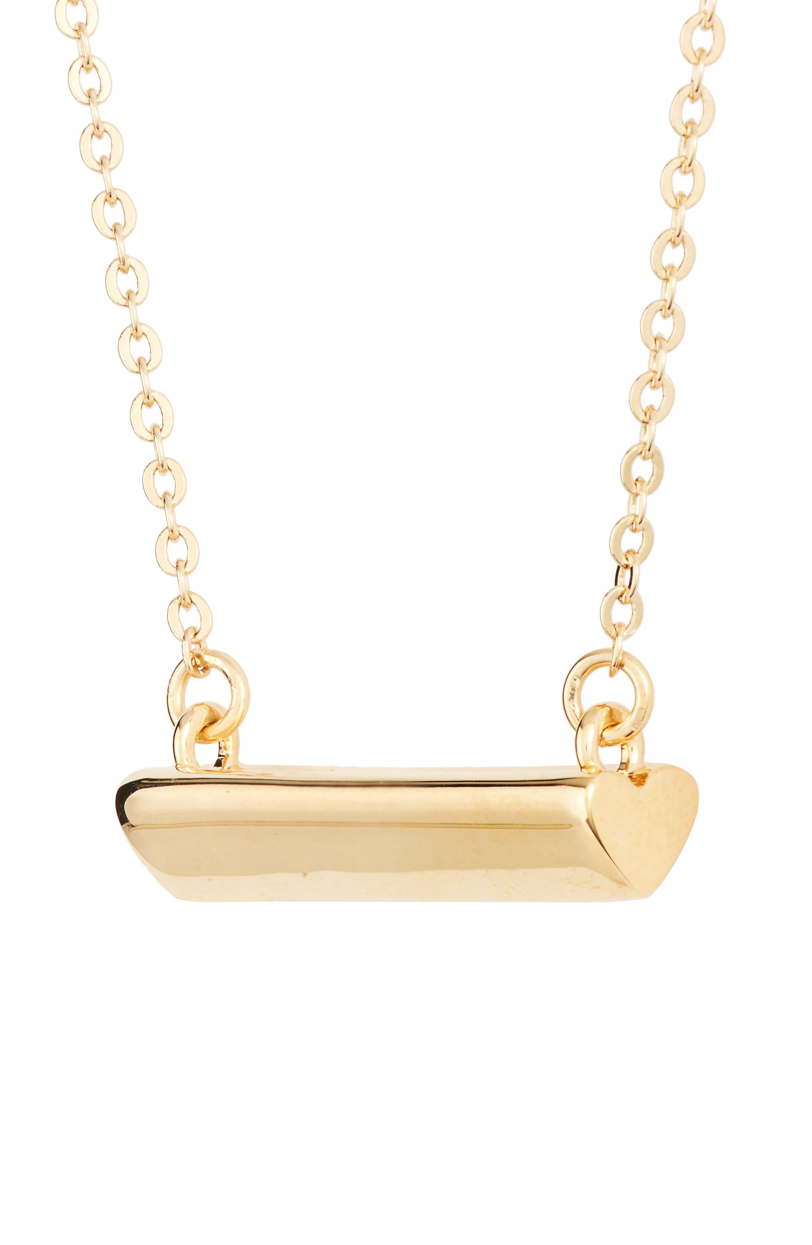 Heart Shaped Bar Pendant Necklace,                             Alternate thumbnail 3, color,                             Gold