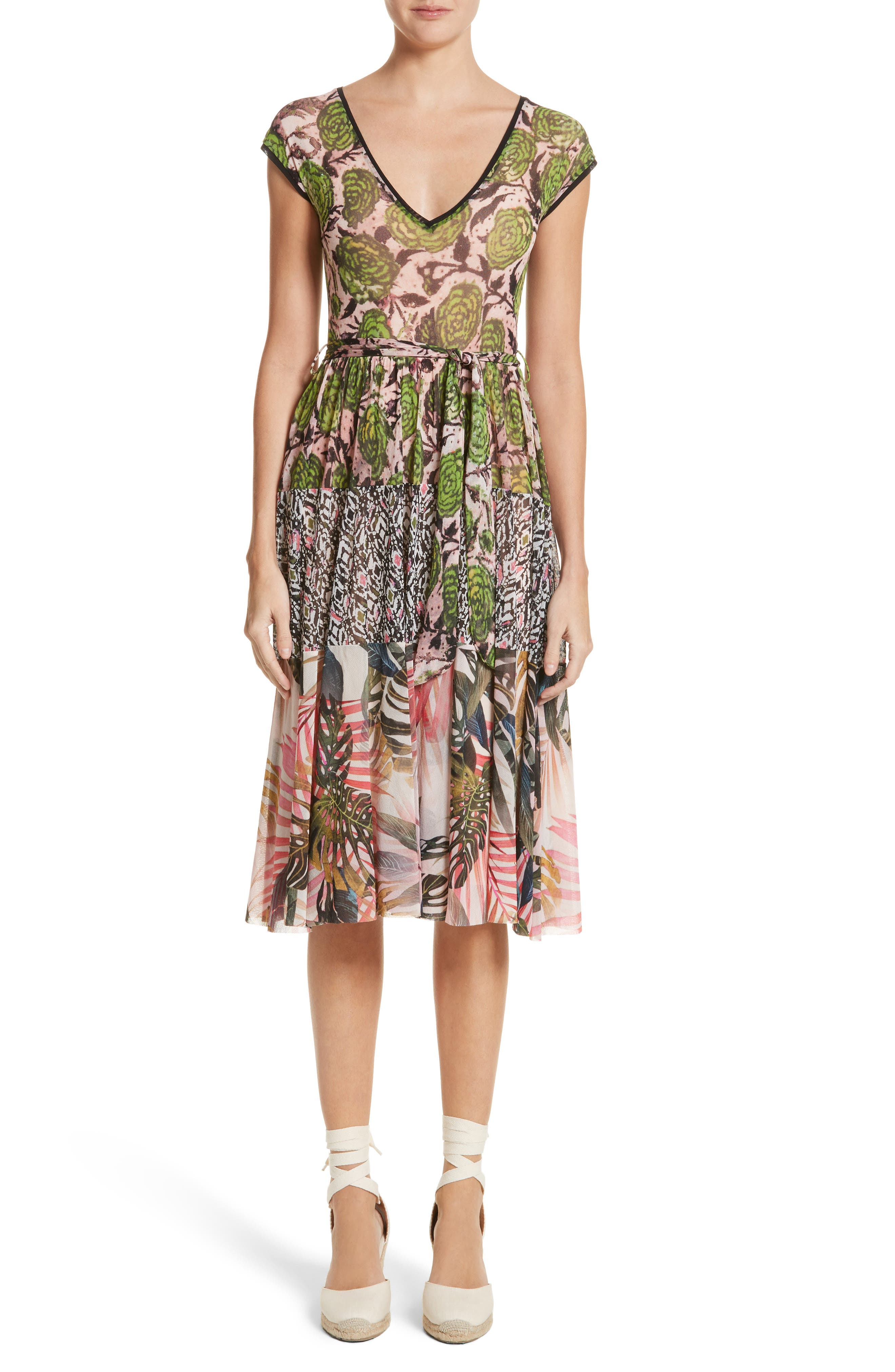 Fuzzi Patchwork Print Tulle Dress