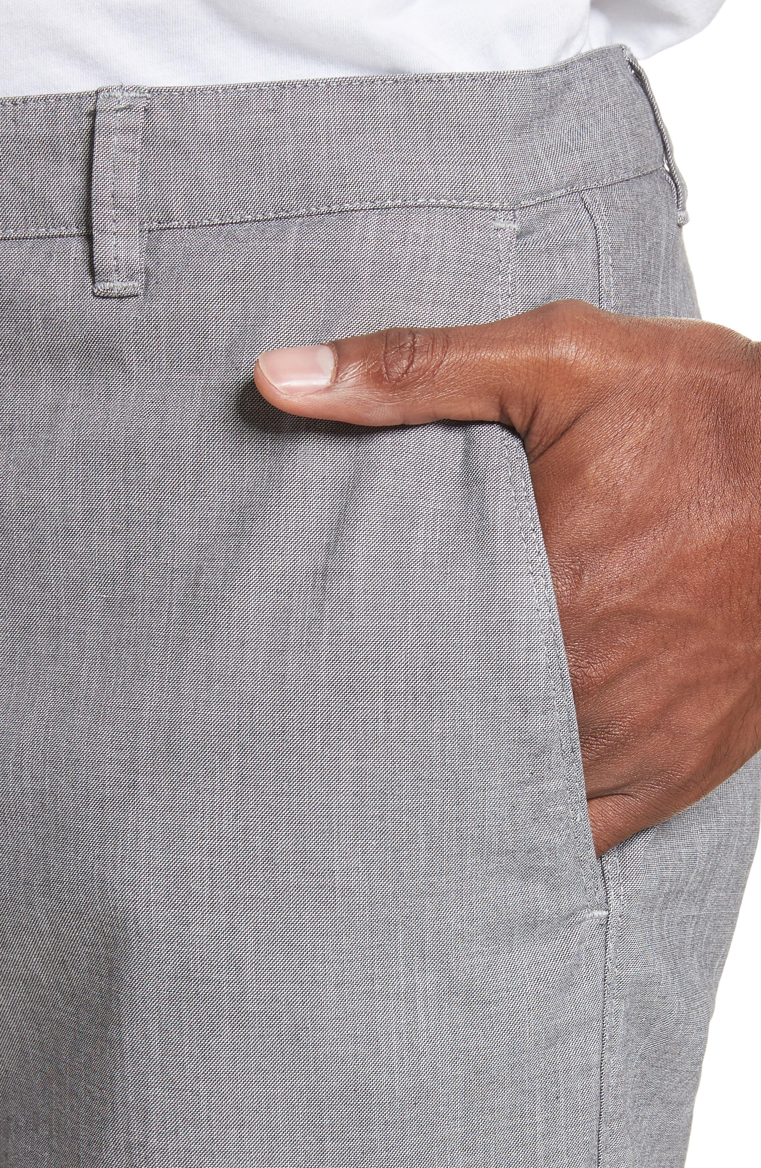 French Pocket Stretch Straight Leg Pants,                             Alternate thumbnail 4, color,                             Grey