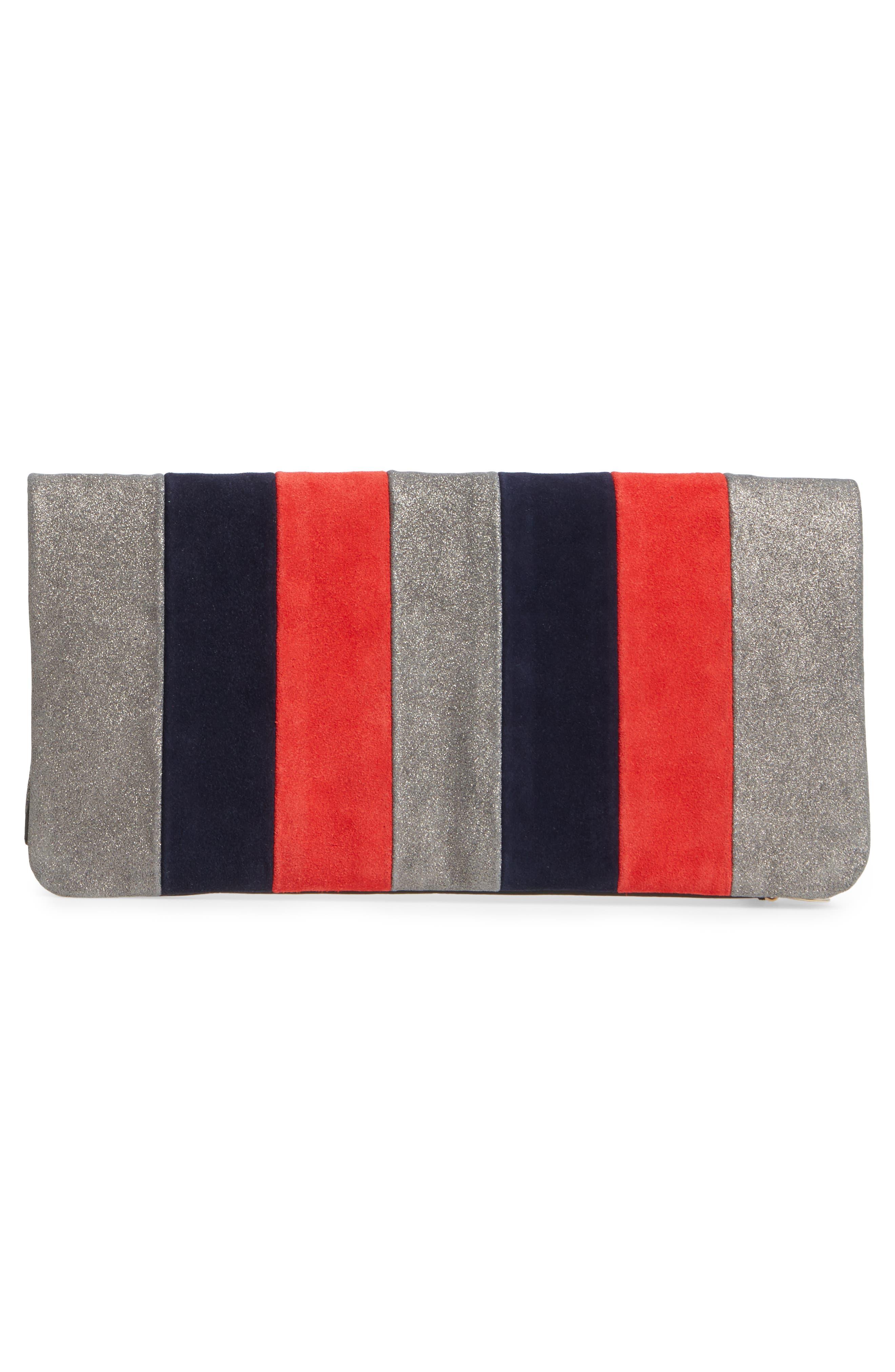 Mixed Media Stripe Leather Foldover Clutch,                             Alternate thumbnail 3, color,                             Zanzibar Stripe