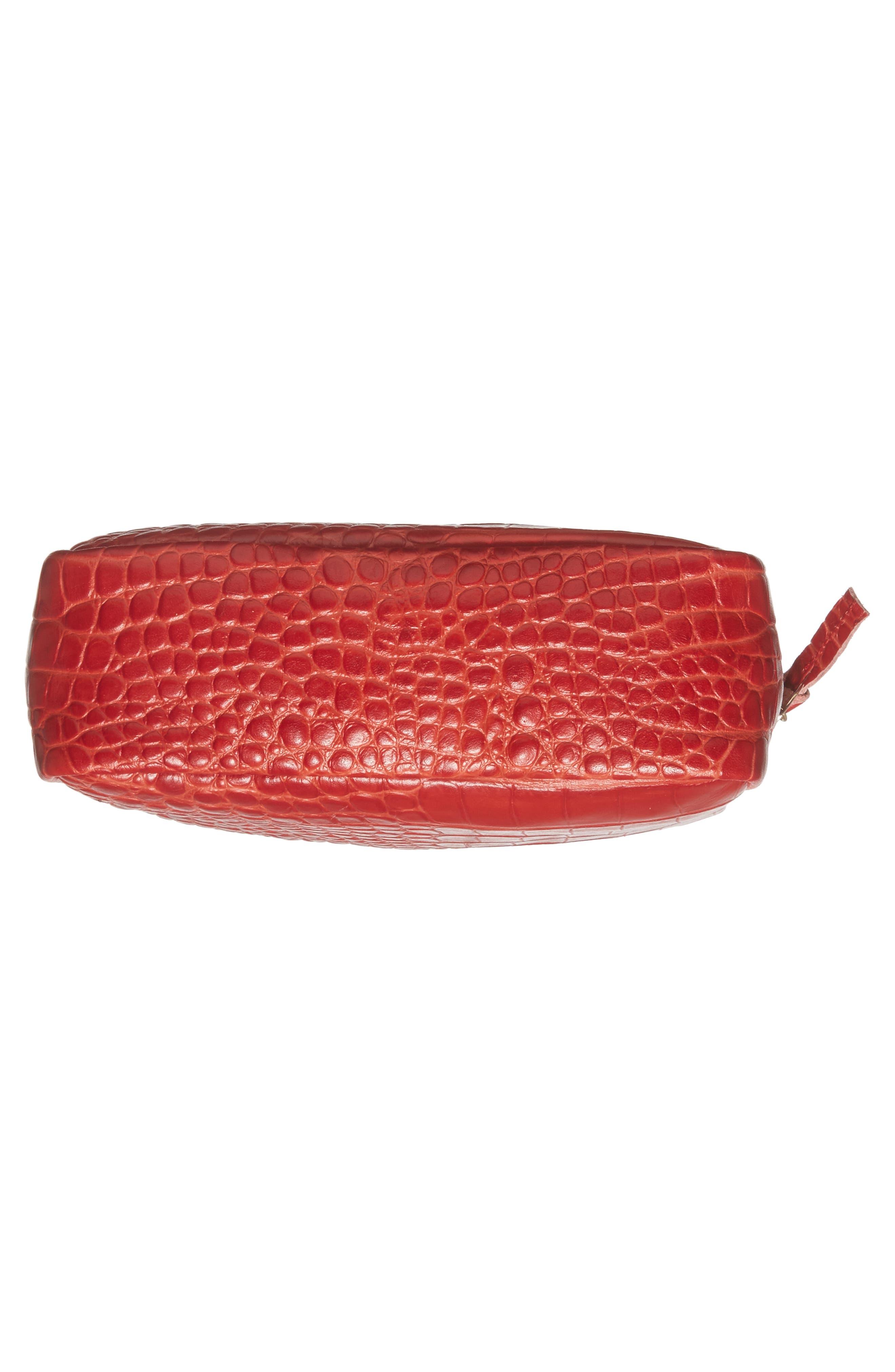 Midi Sac Supreme Croc Embossed Leather Crossbody Bag,                             Alternate thumbnail 6, color,                             Red Croco
