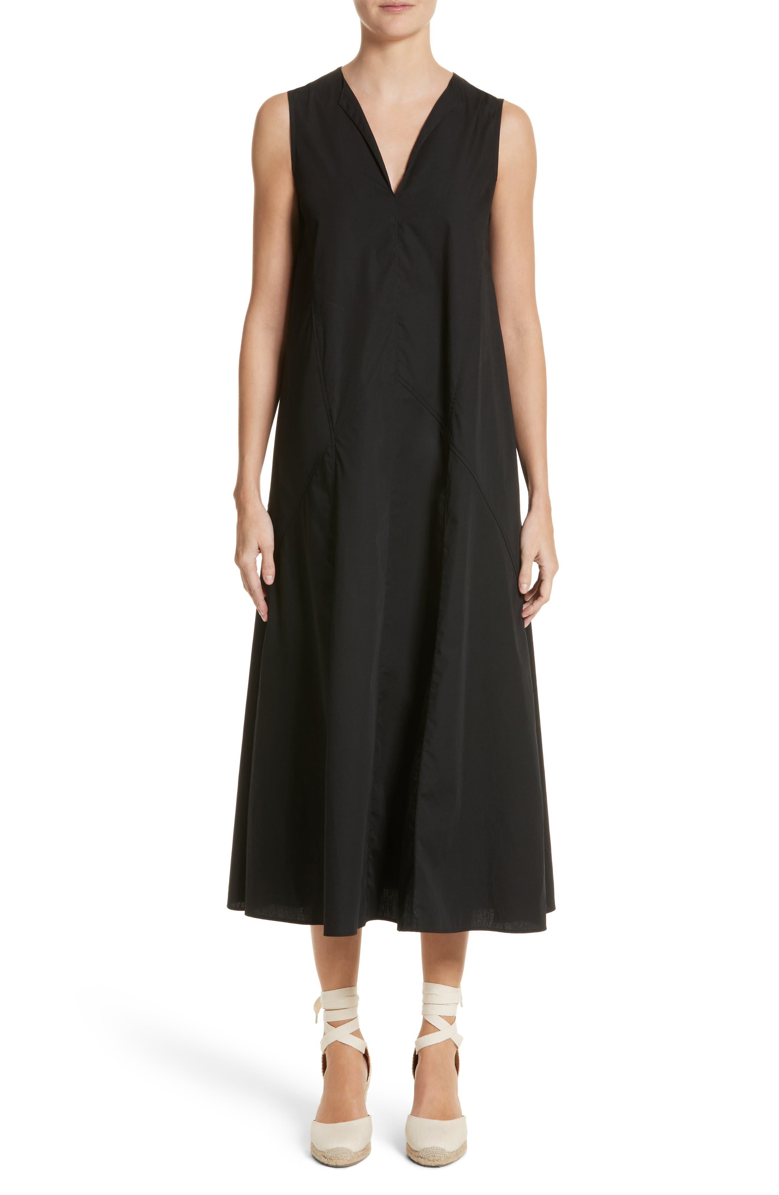 Sleeveless Poplin Shift Dress,                         Main,                         color, Nero