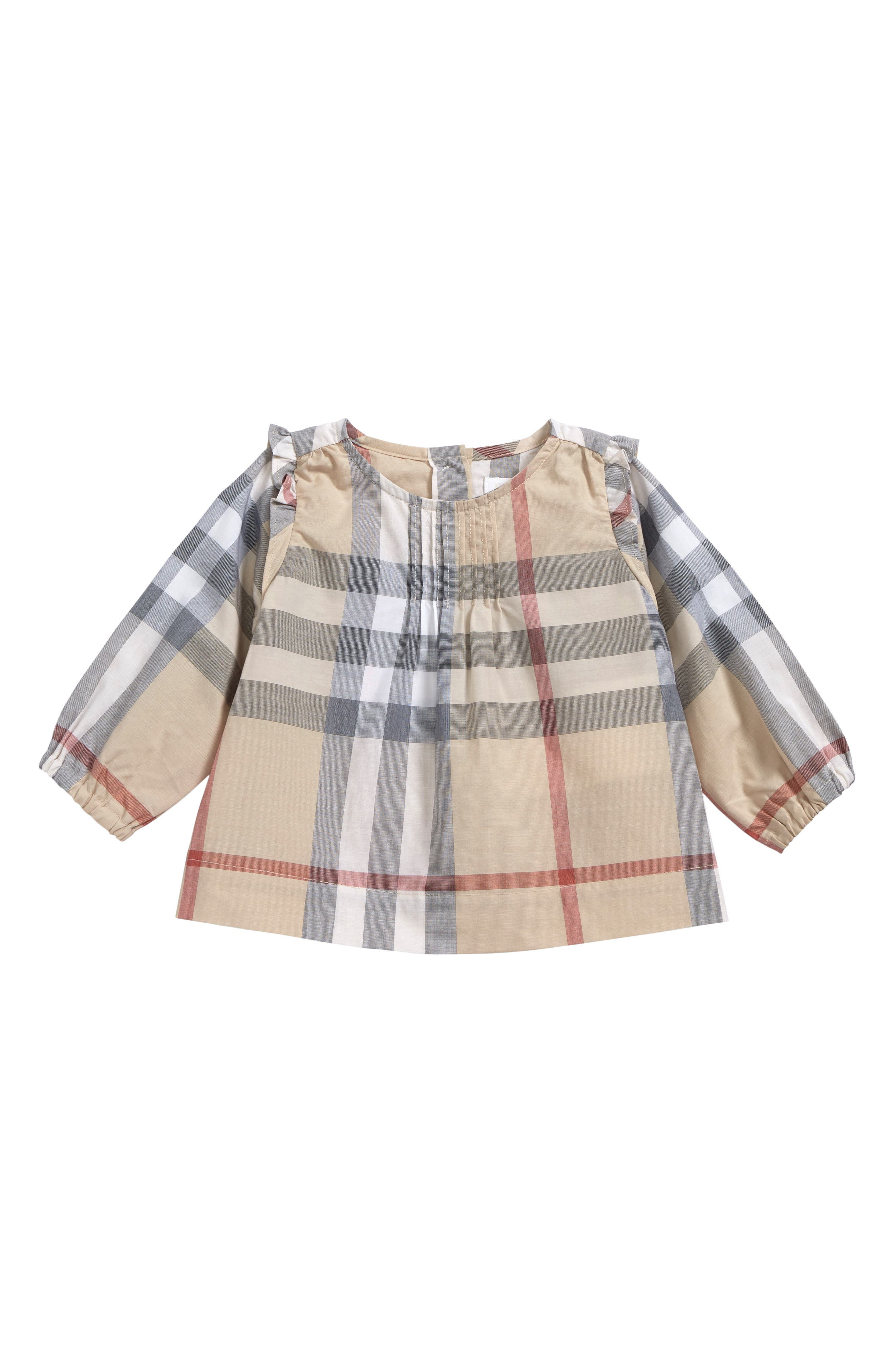 Alternate Image 1 Selected - Burberry Neela Check Print Cotton Tunic (Baby Girls)