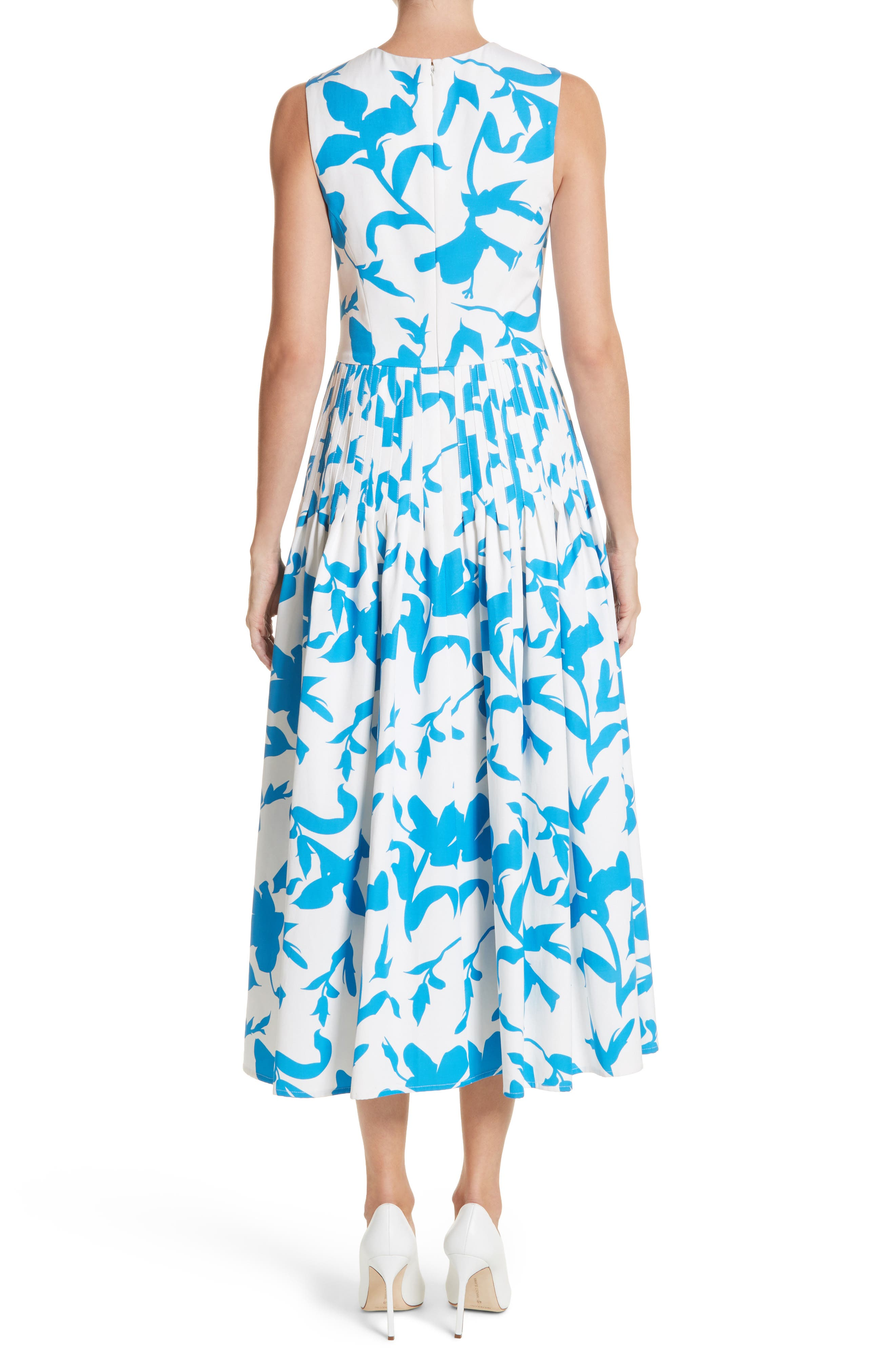 Pleated A-Line Midi Dress,                             Alternate thumbnail 2, color,                             White/ Cerulean