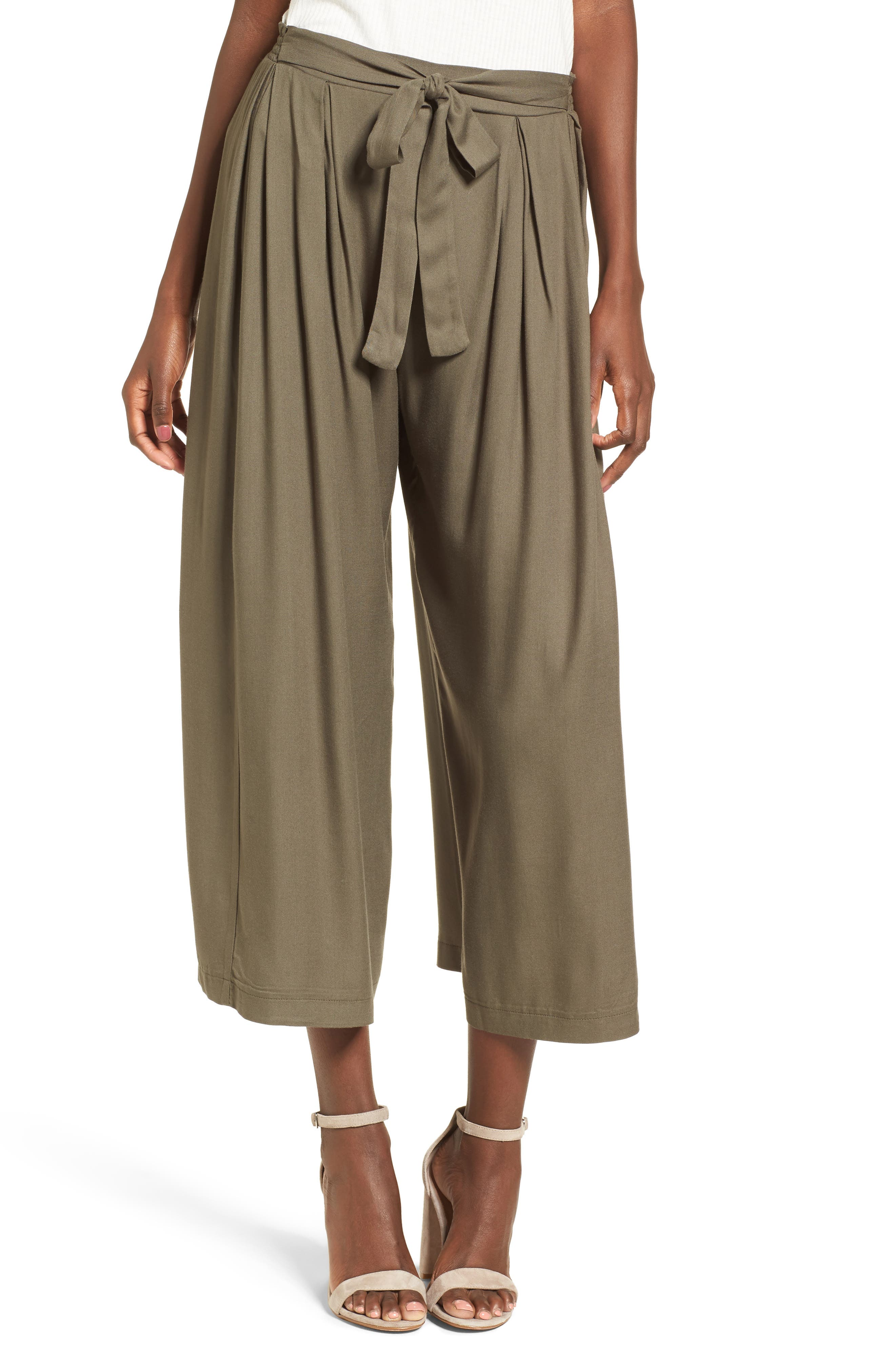Tie Waist Wide Leg Pants,                             Main thumbnail 1, color,                             Olive Sarma
