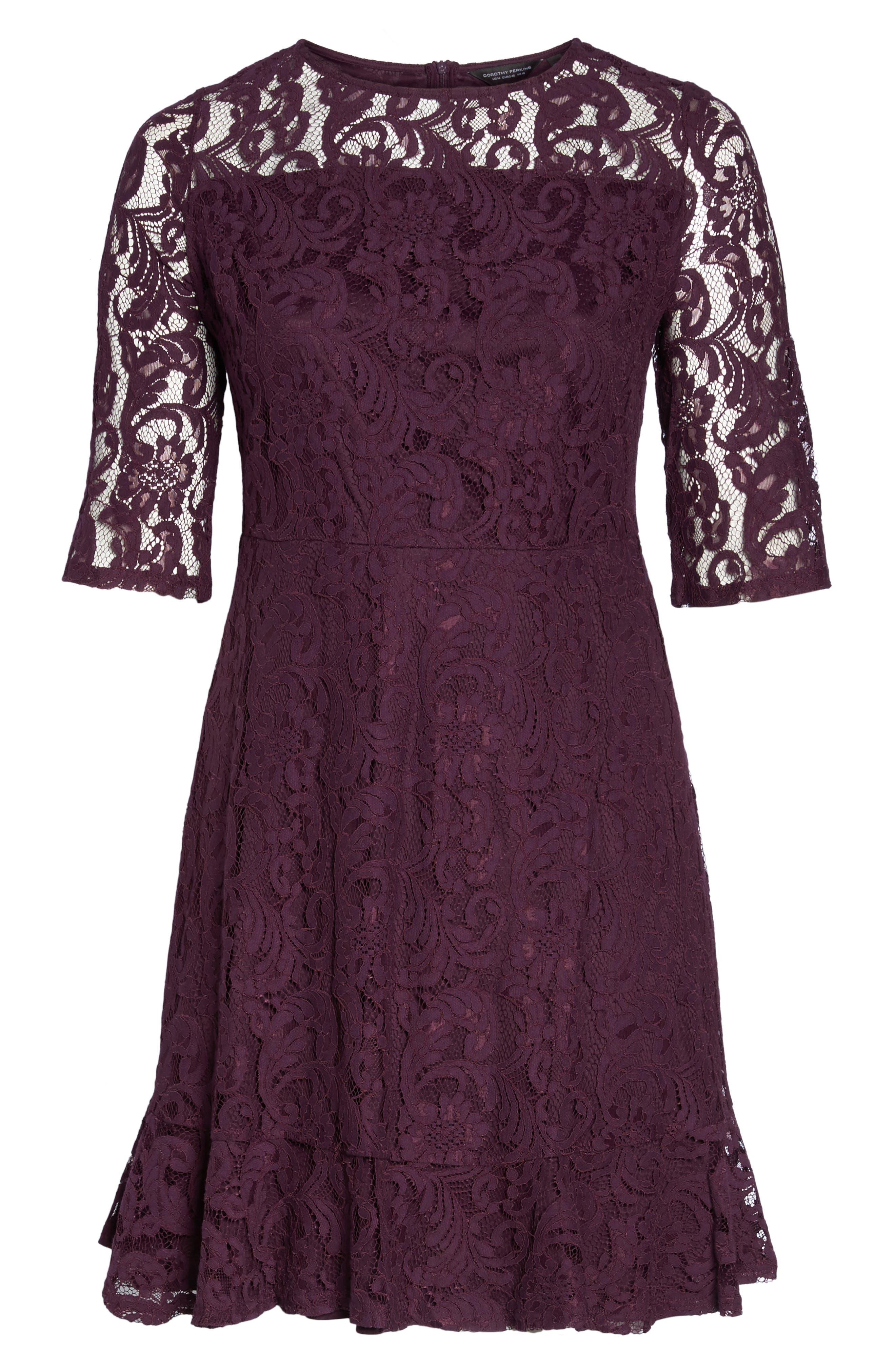 Lace Fit & Flare Dress,                             Alternate thumbnail 6, color,                             Burgundy