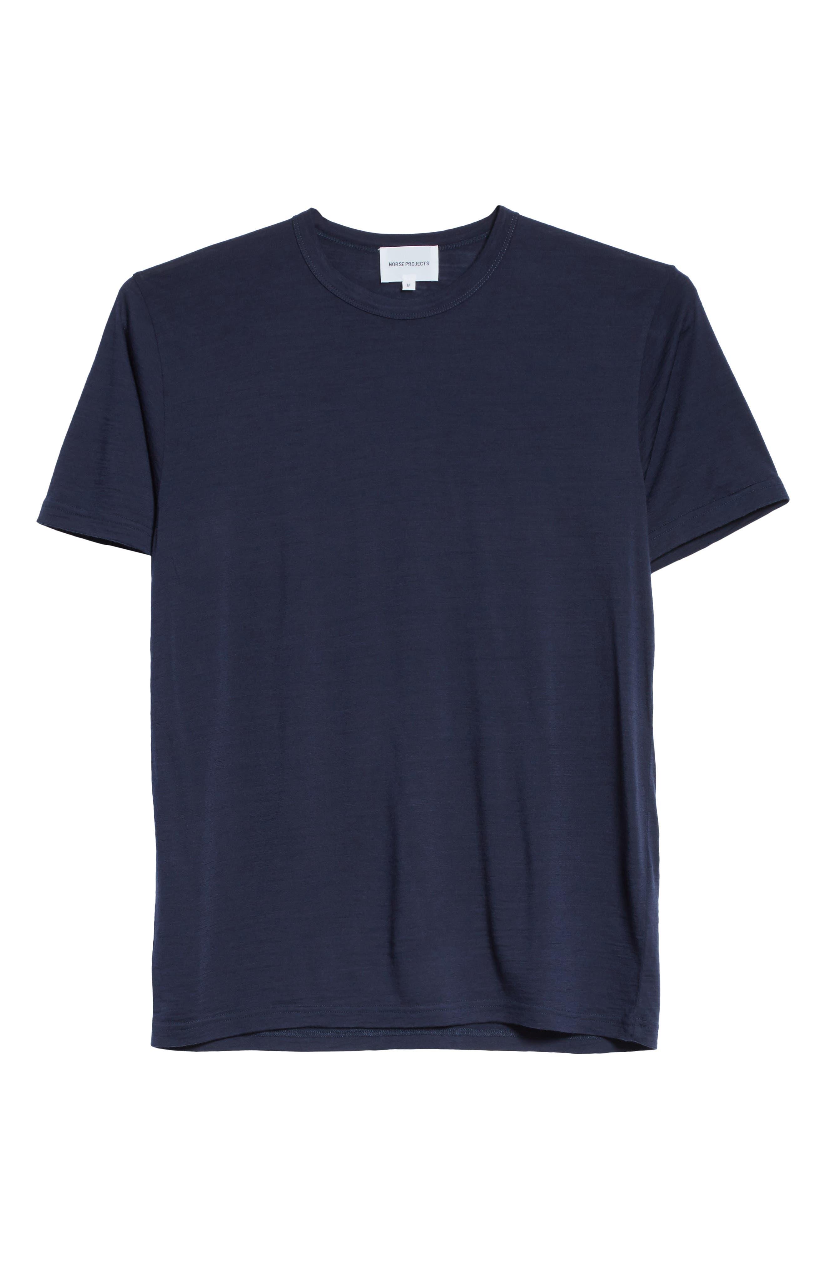 Jesper Mercerized Wool T-Shirt,                             Alternate thumbnail 6, color,                             Navy