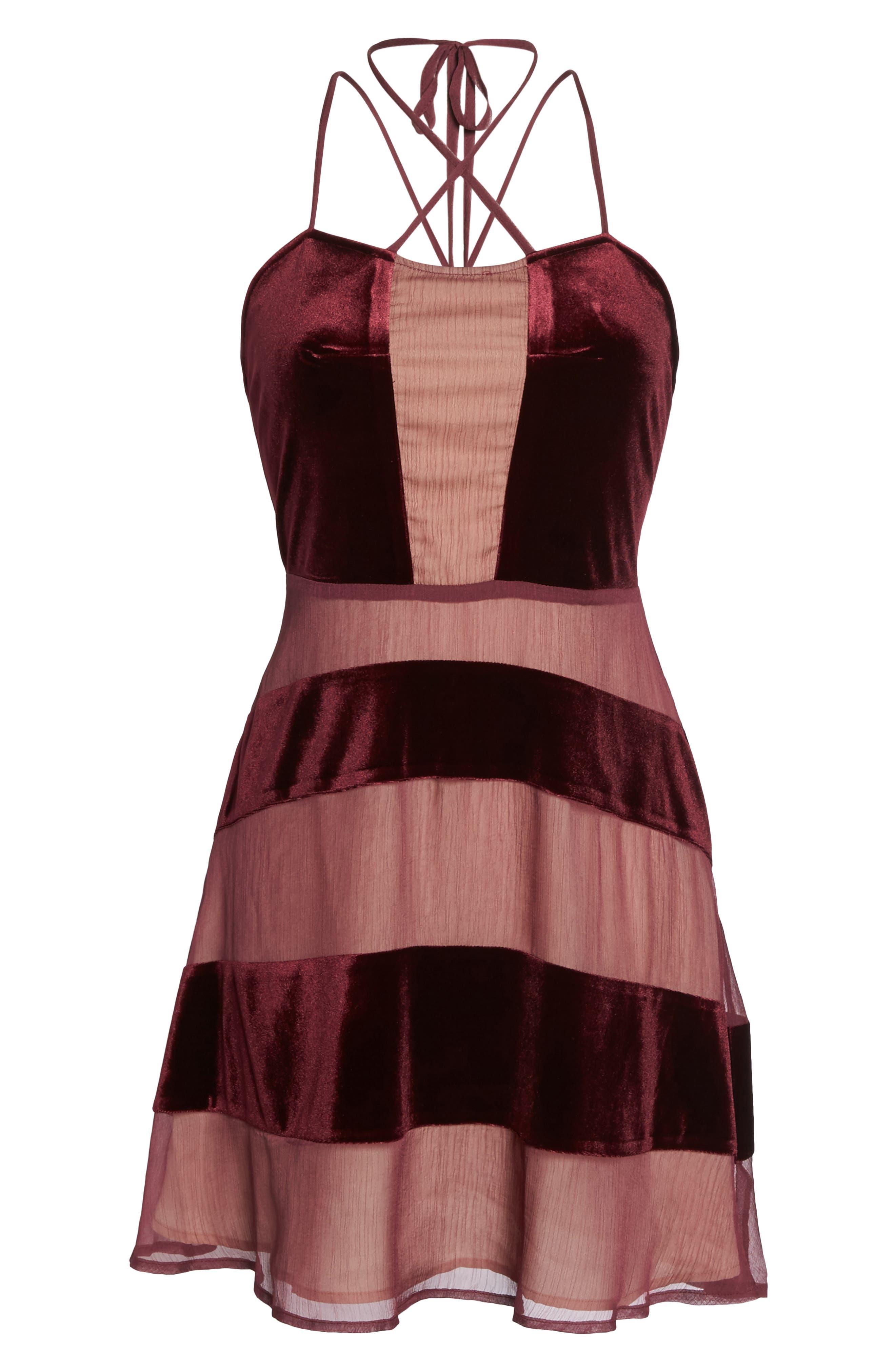 Alternate Image 6  - Foxiedox Dante Velvet & Gauze Halter Dress