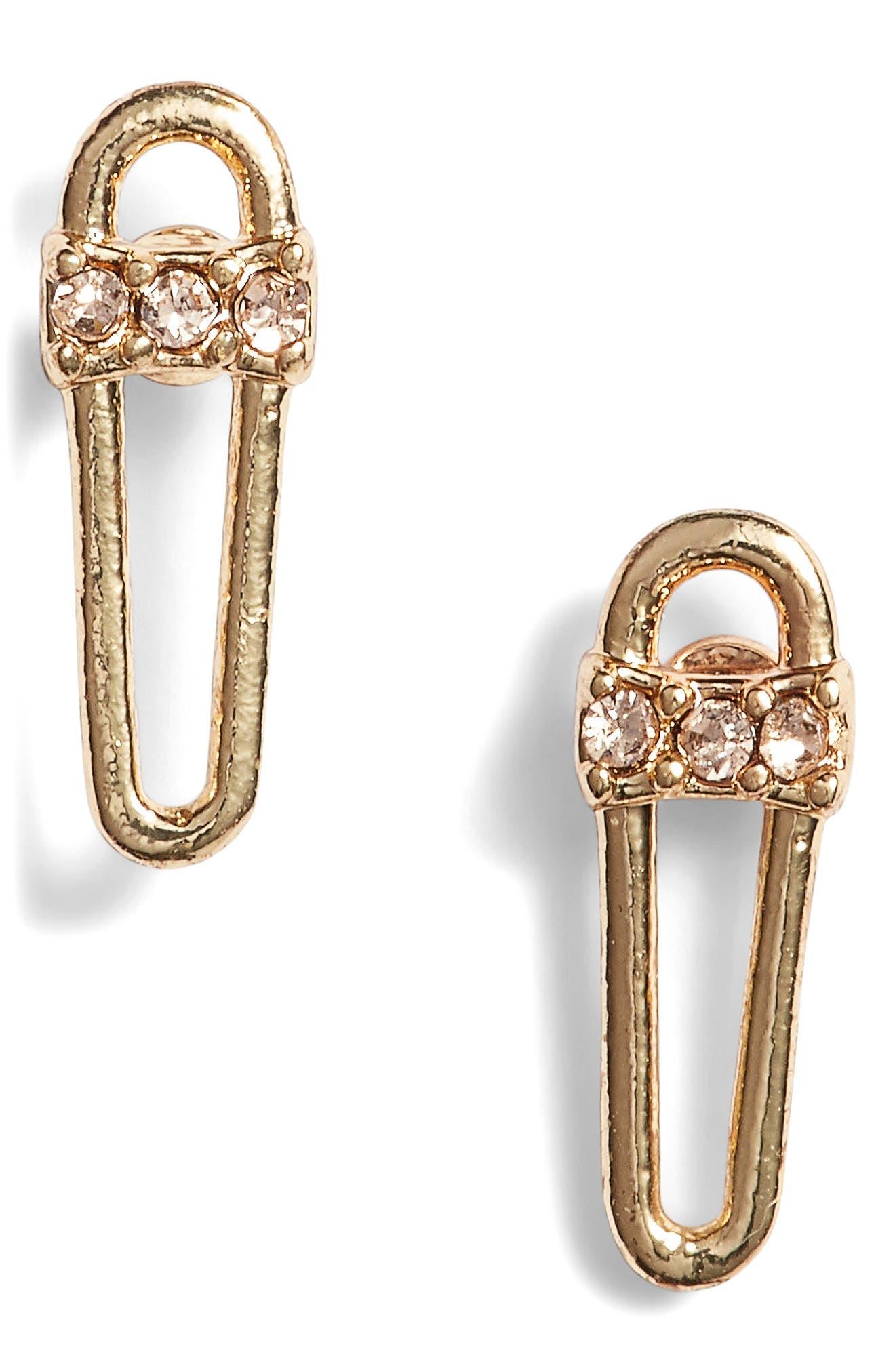 Mini Safety Pin Earrings,                             Main thumbnail 1, color,                             Gold