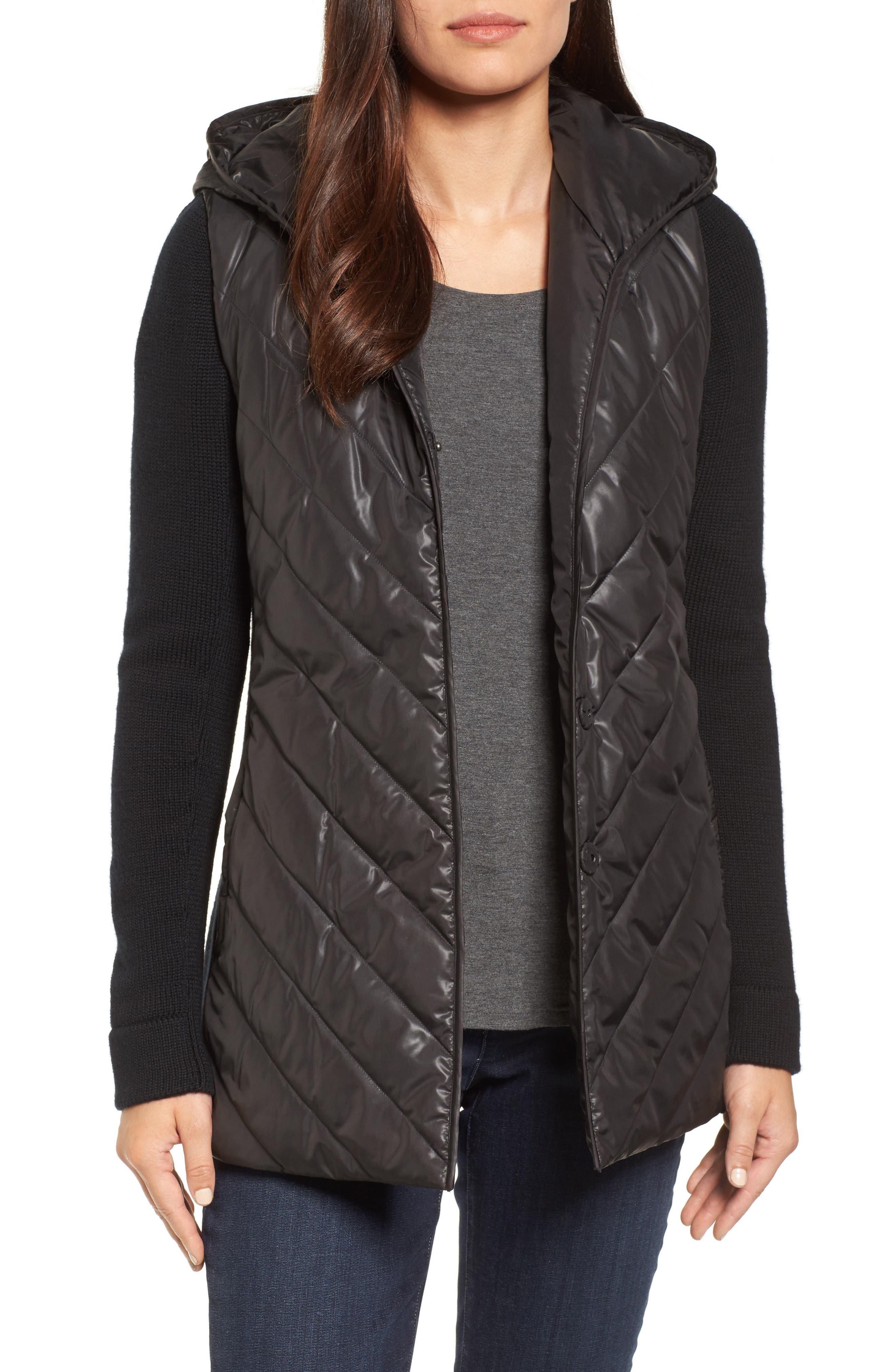 Main Image - Eileen Fisher Hooded Merino Wool Trim Jacket
