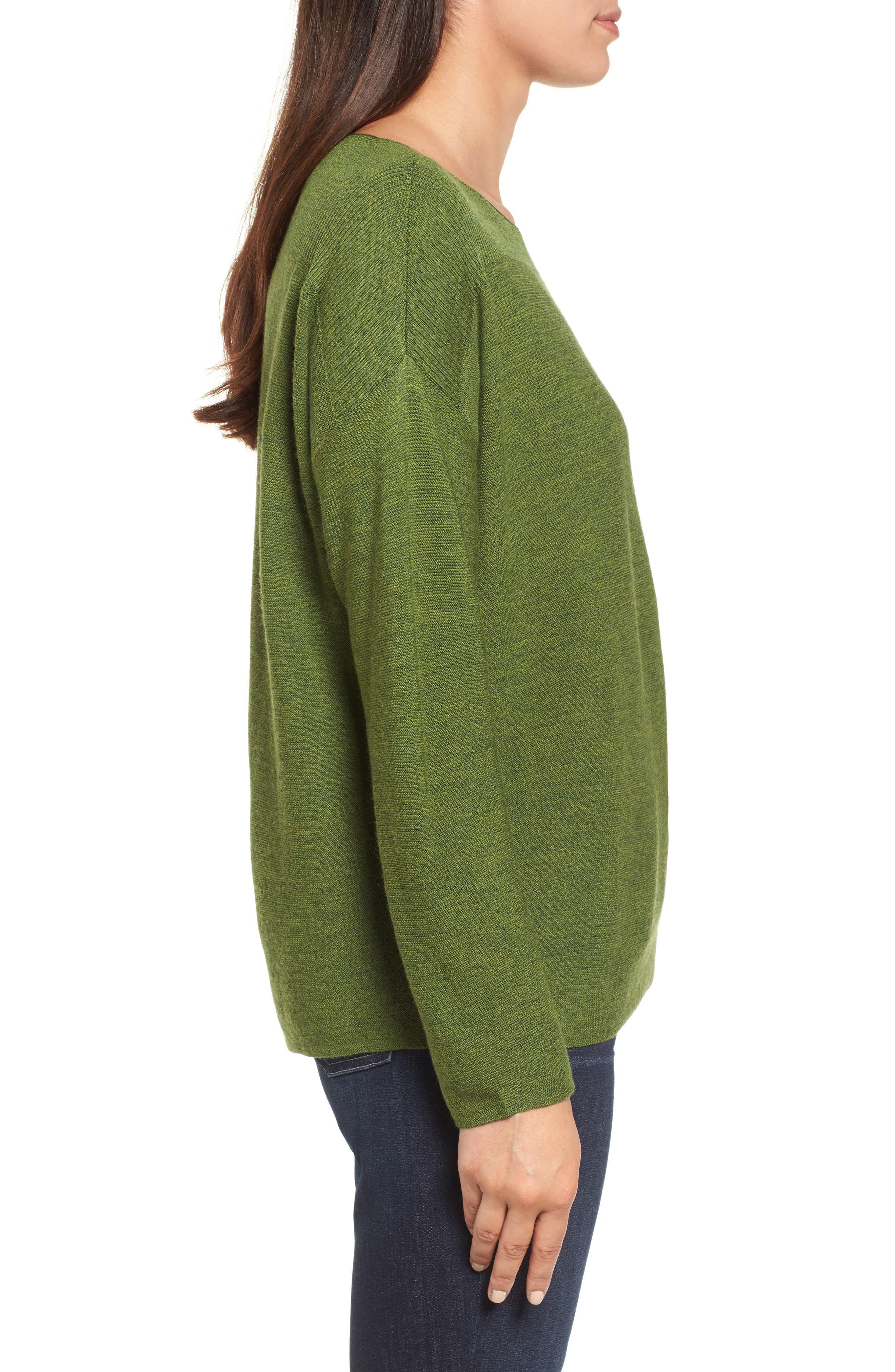 Alternate Image 3  - Eileen Fisher Mix Stitch Merino Bateau Neck Sweater (Regular & Petite)