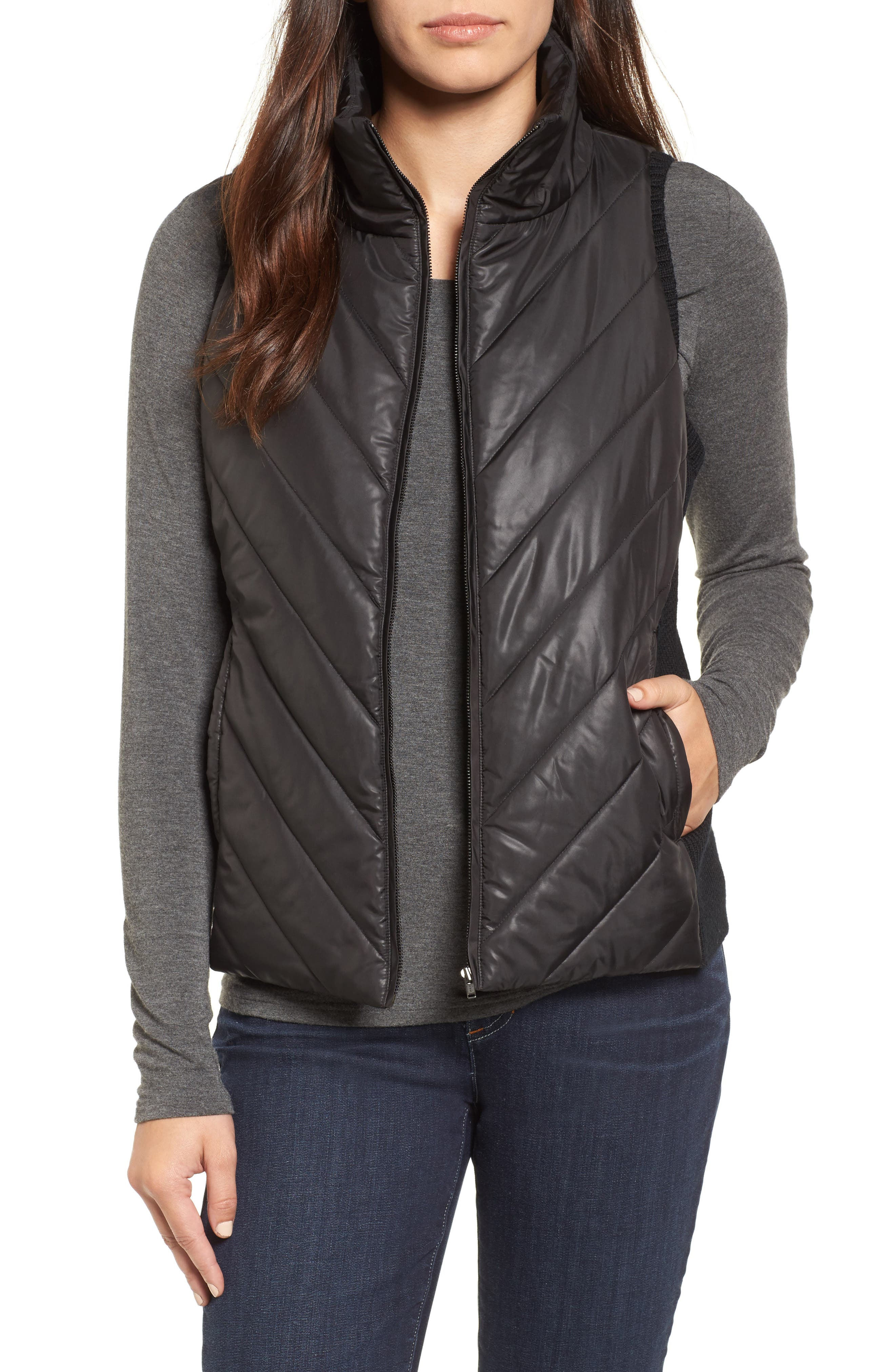 Alternate Image 1 Selected - Eileen Fisher Merino Wool Trim Puffer Vest (Regular & Petite)