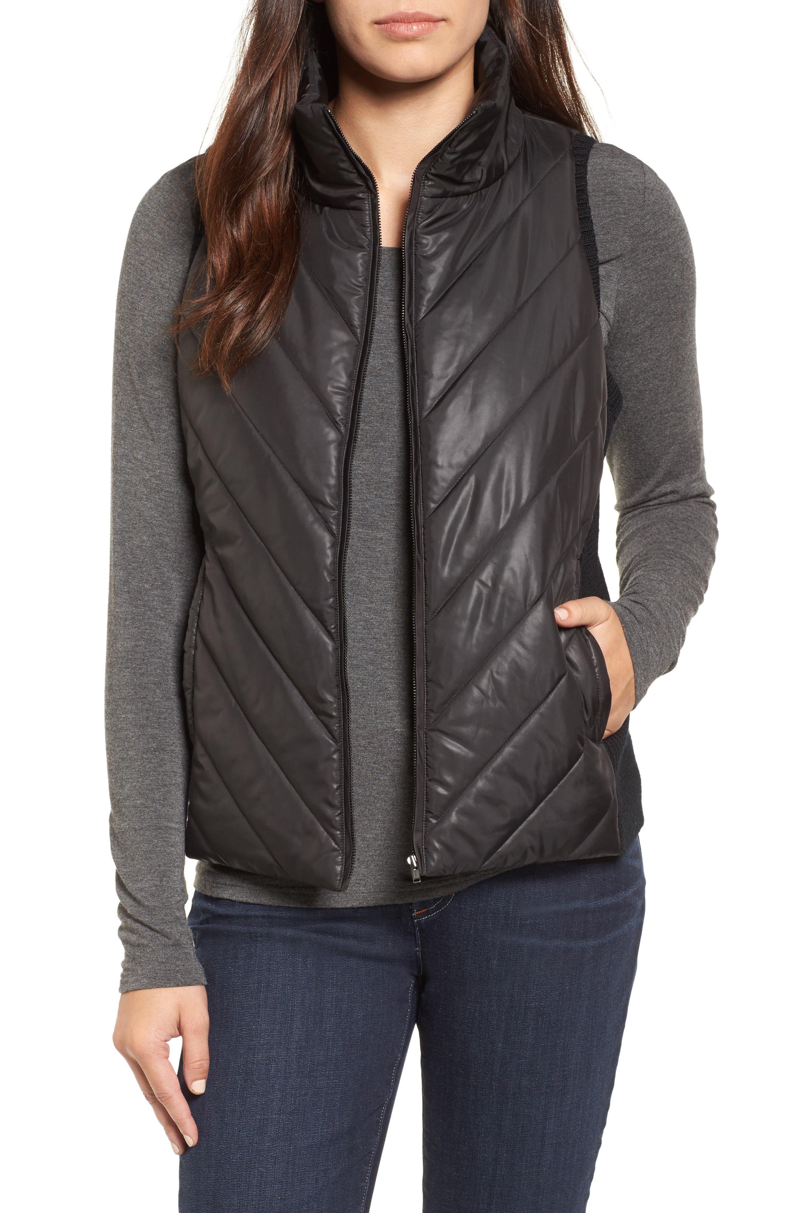 Merino Wool Trim Puffer Vest,                         Main,                         color, Black