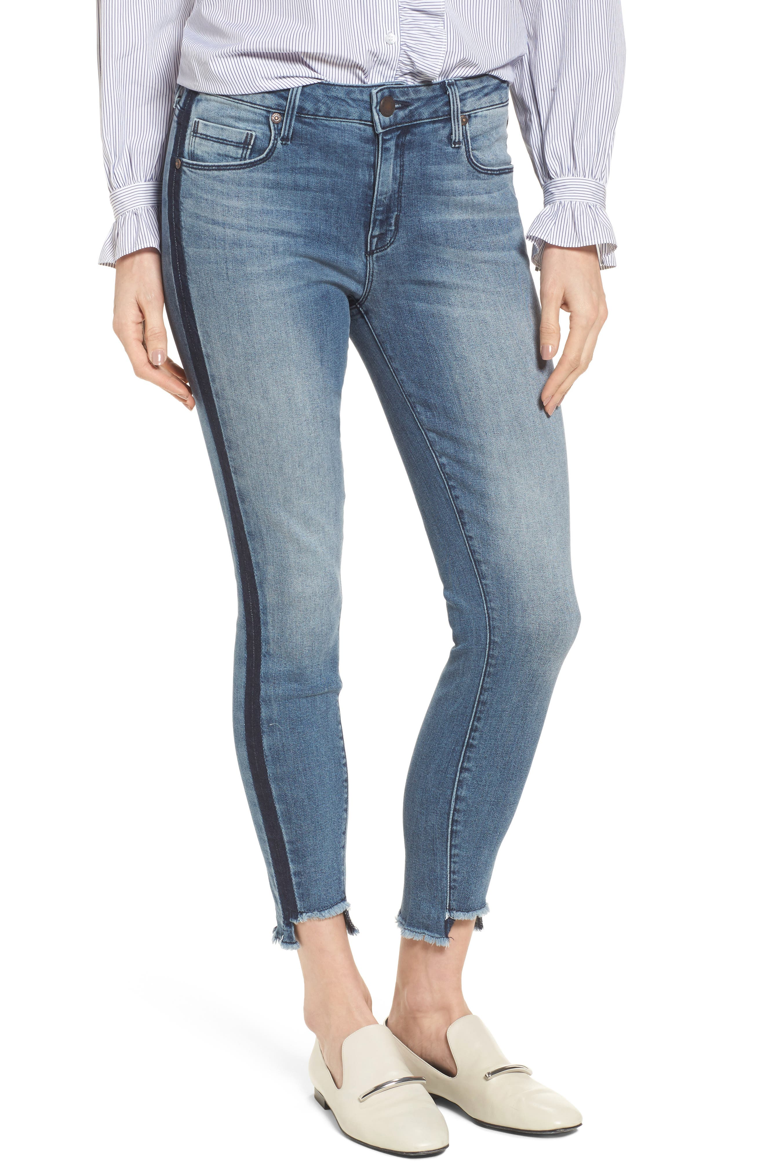 Twisted Seam Skinny Jeans,                         Main,                         color, Ocean Side
