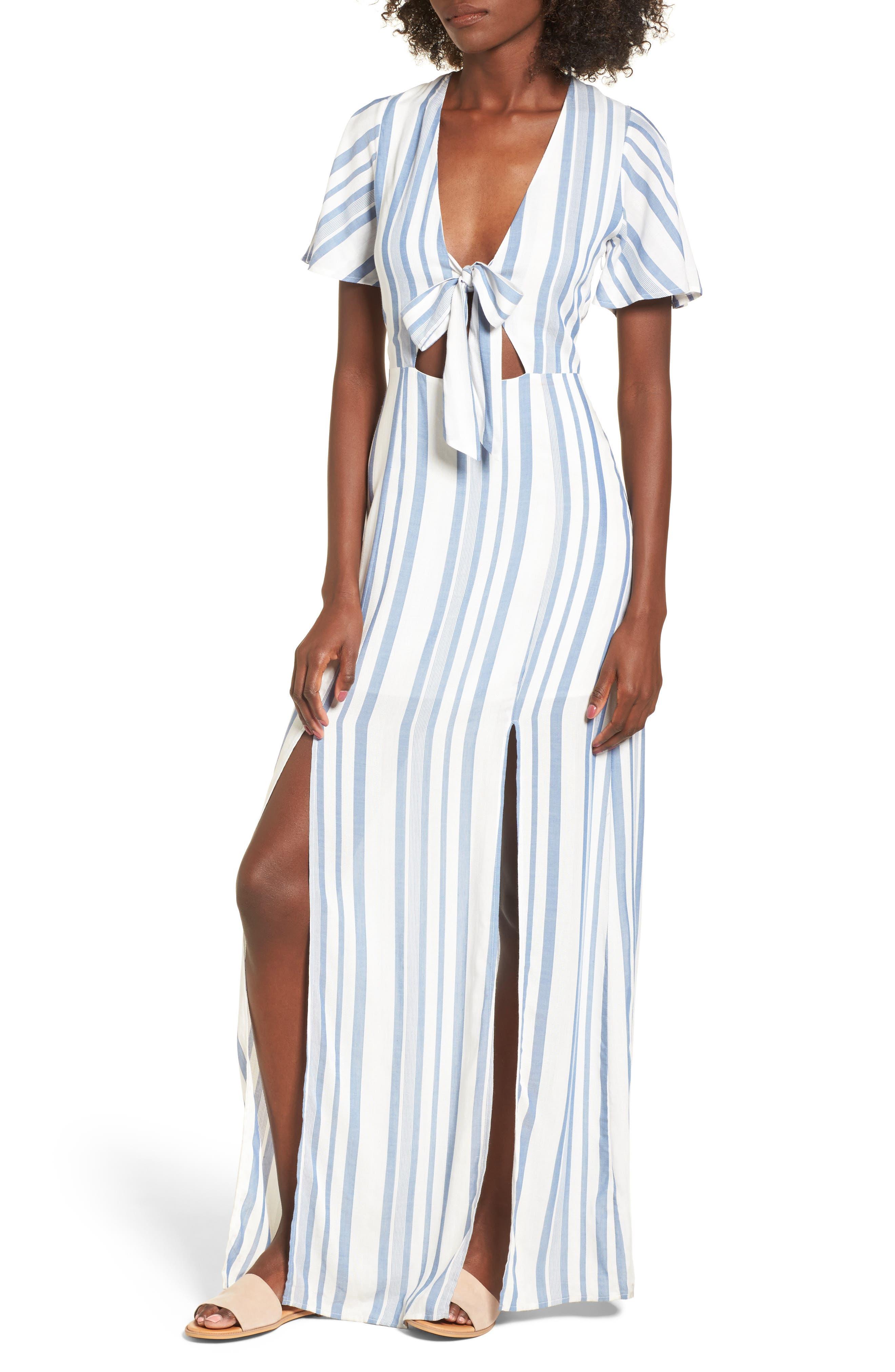 Bow Front Marina Maxi Dress,                             Main thumbnail 1, color,                             White/ Blue