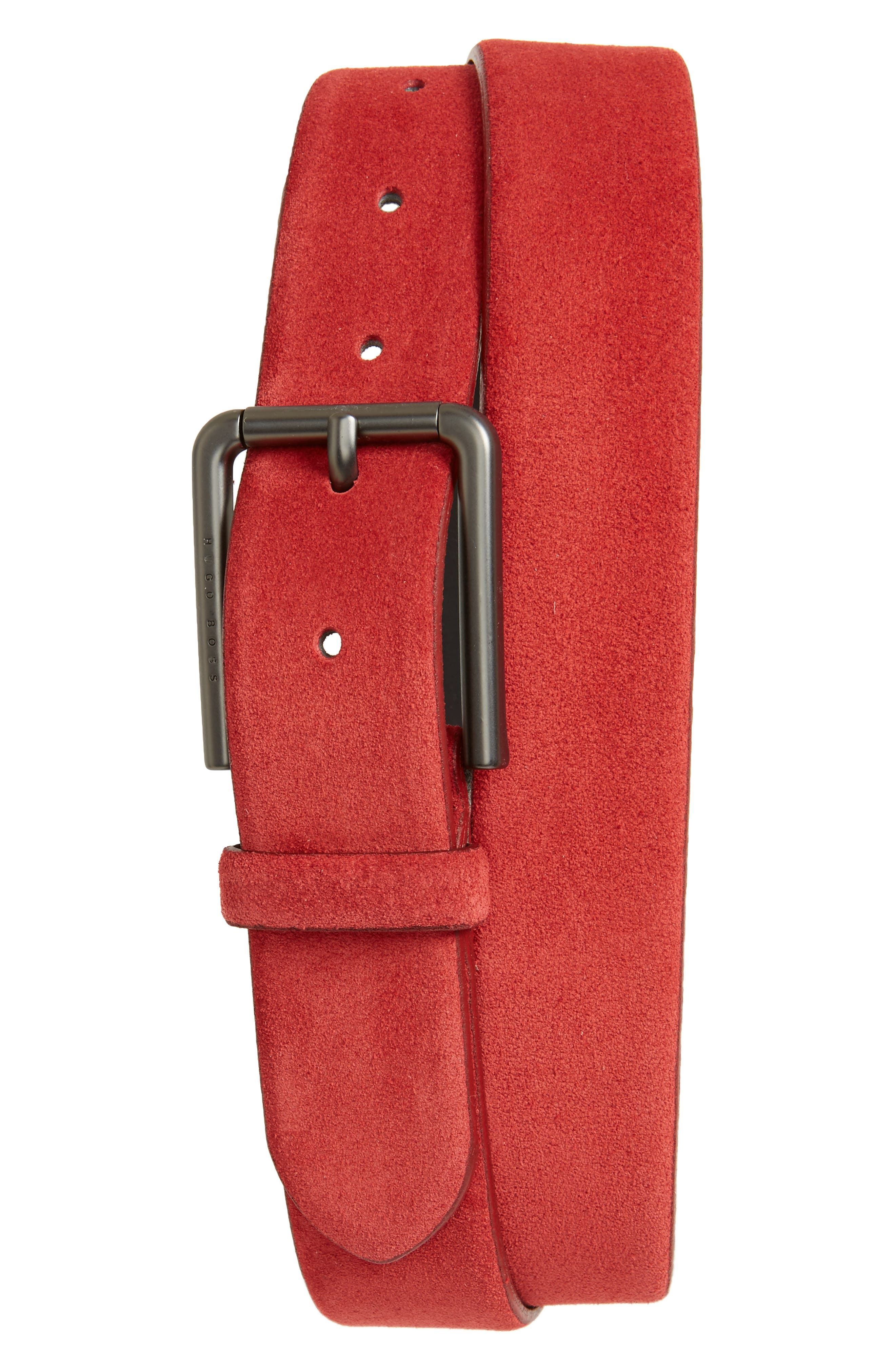 Sily Suede Belt,                         Main,                         color, Bright Red