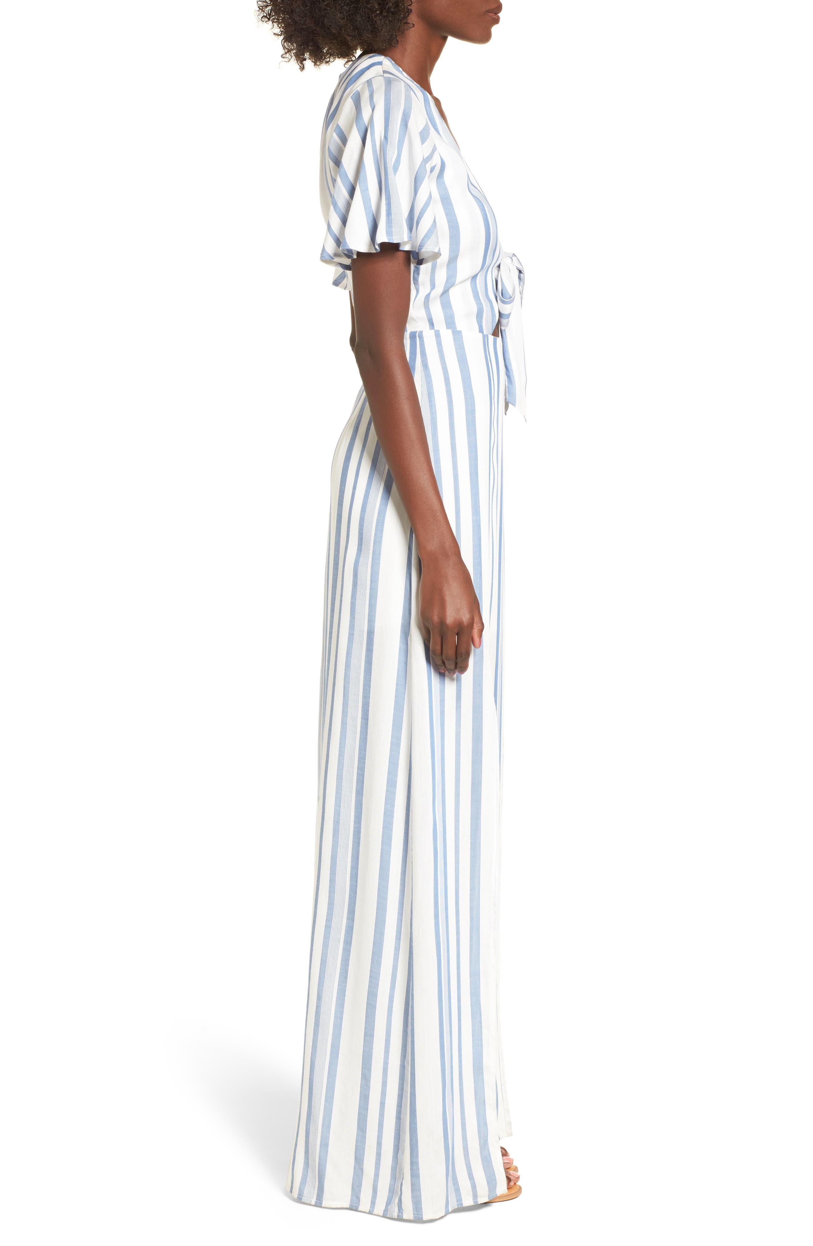 Bow Front Marina Maxi Dress,                             Alternate thumbnail 3, color,                             White/ Blue